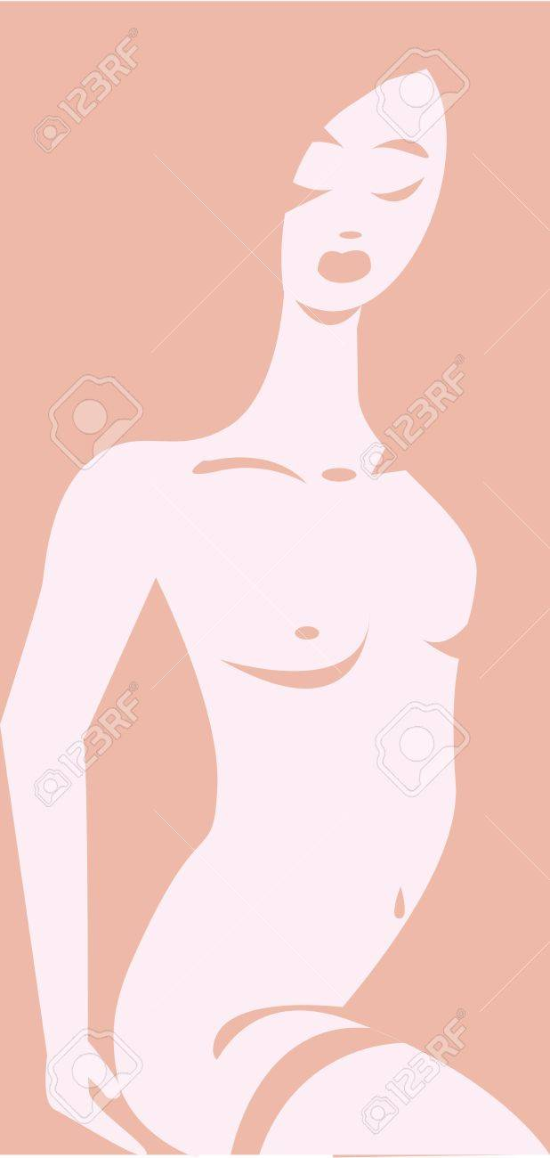 Vector illustration of an erotic naked woman emerging from pink background, removing her garter  No gradients used Stock Vector - 19882830