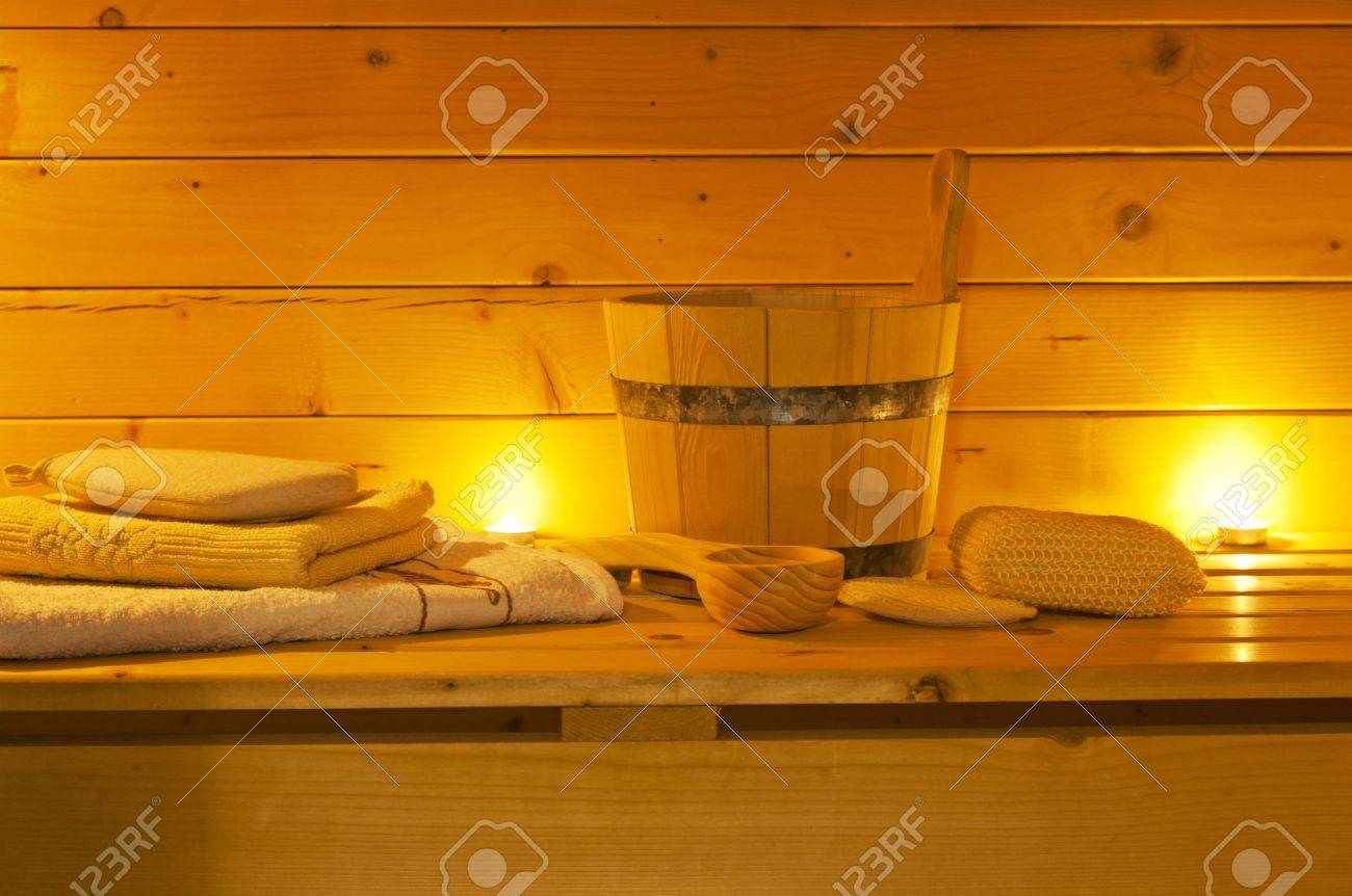 Blickfang Sauna Bilder Dekoration Von Innenraum Der Und Saunazubehör Standard-bild - 17358647