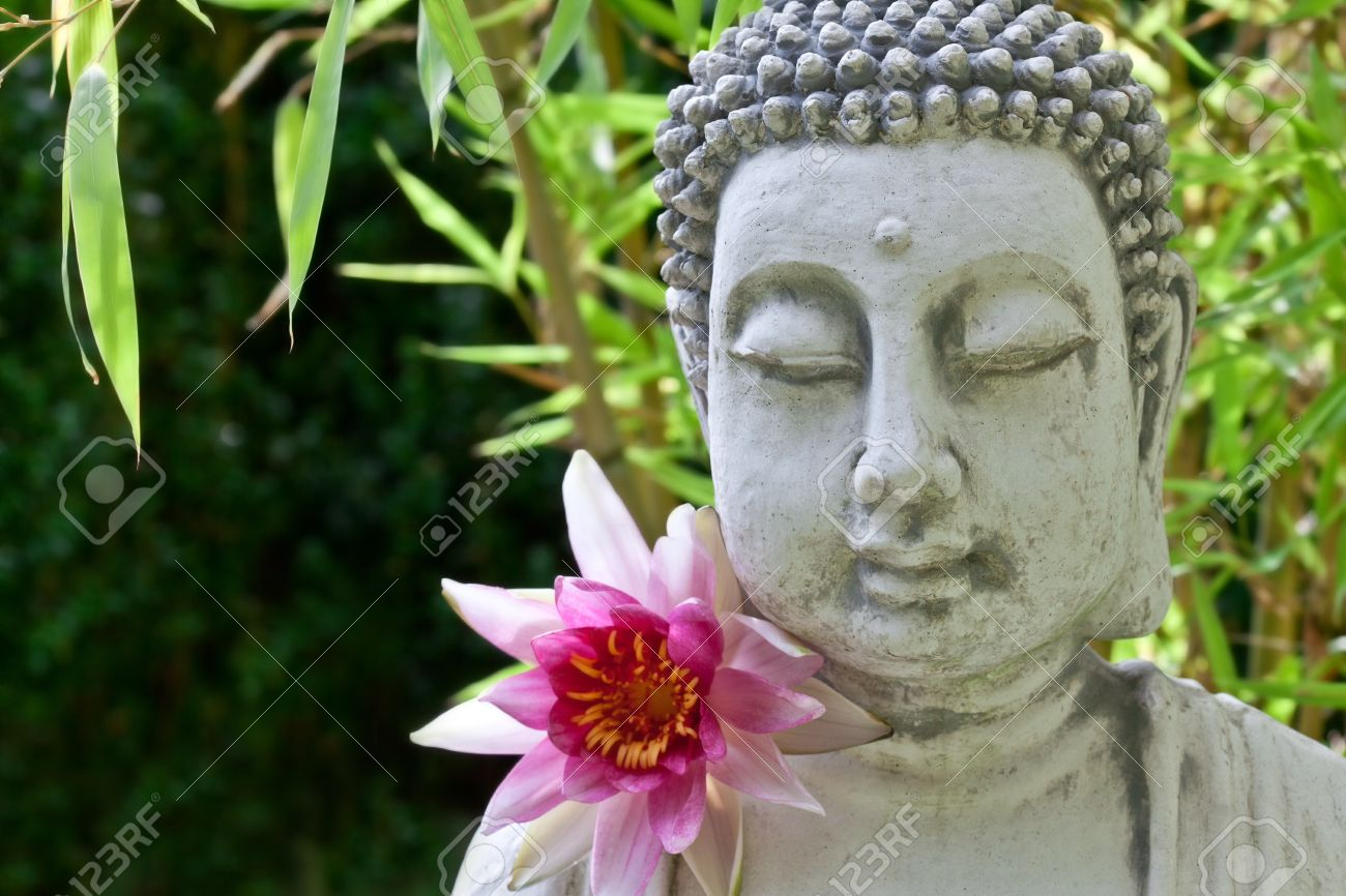 Buddha with lotus flower and bamboo leaves Stock Photo - 22076689