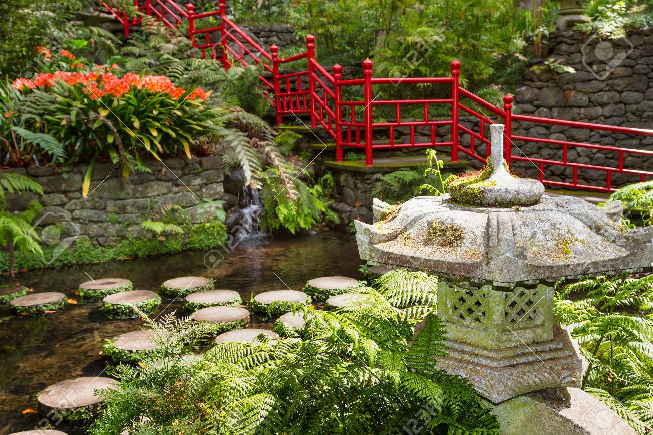 pond and garden decoration in oriental style. monte palace