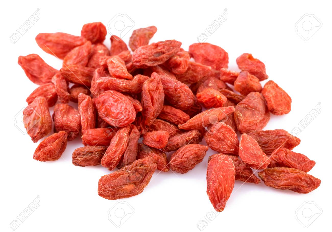 pile of dried Goji berry on white - 59845432