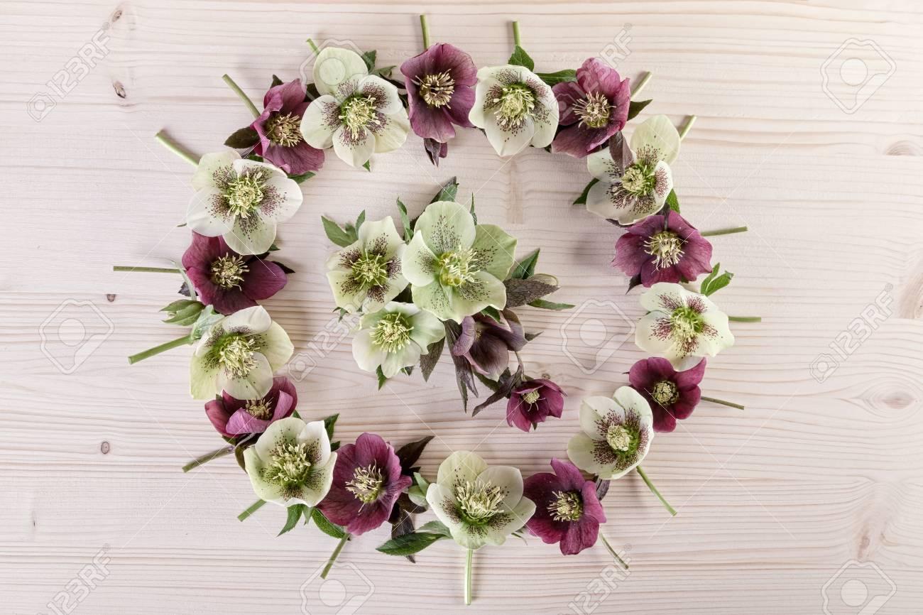Flower Wreath Arrangement On Light Wood Holiday Wedding Birthday