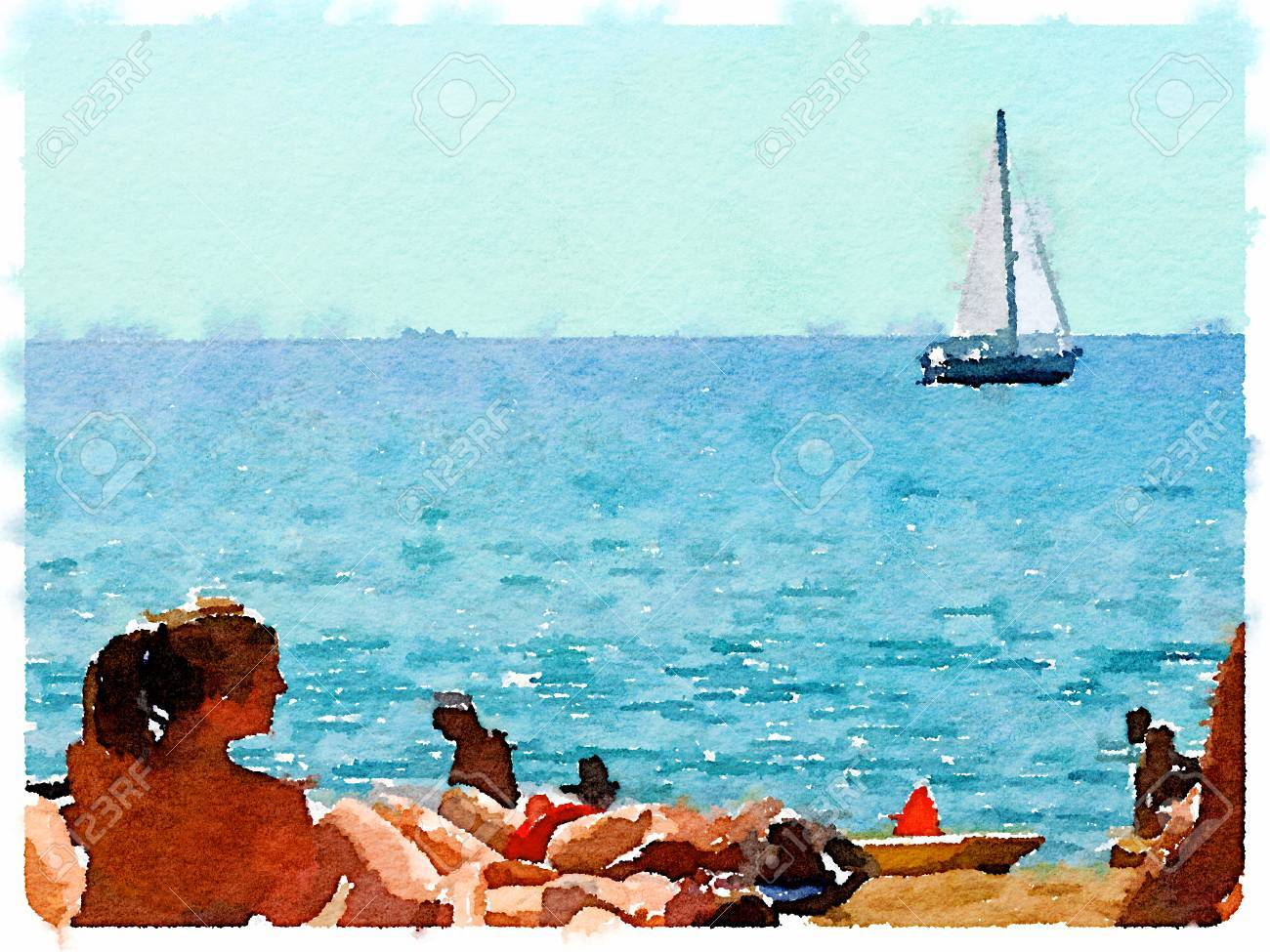 digital watercolor painting of people on the sandy beach and stock