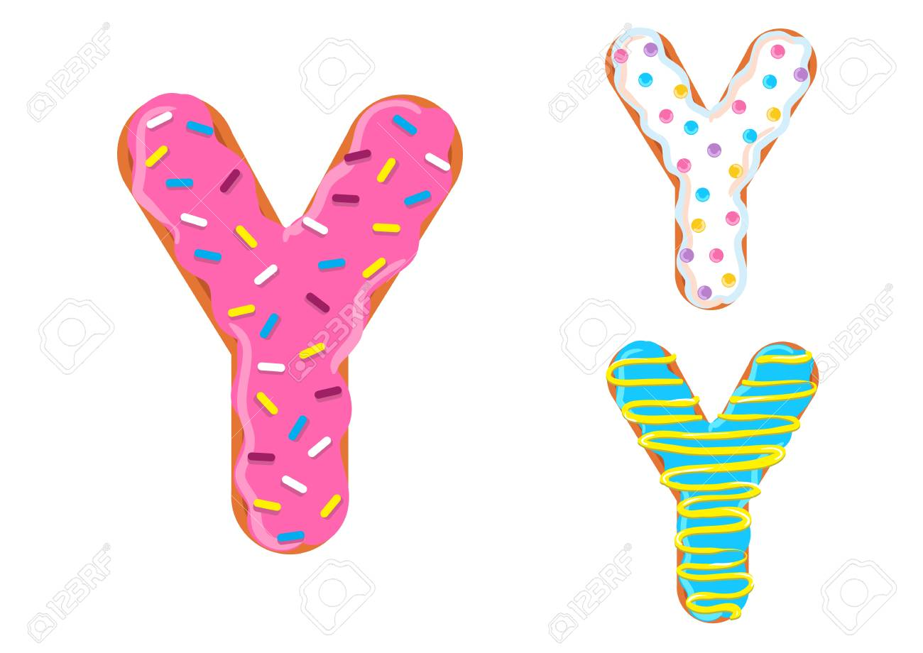 sweet donut font vector with letter y shape. royalty free cliparts