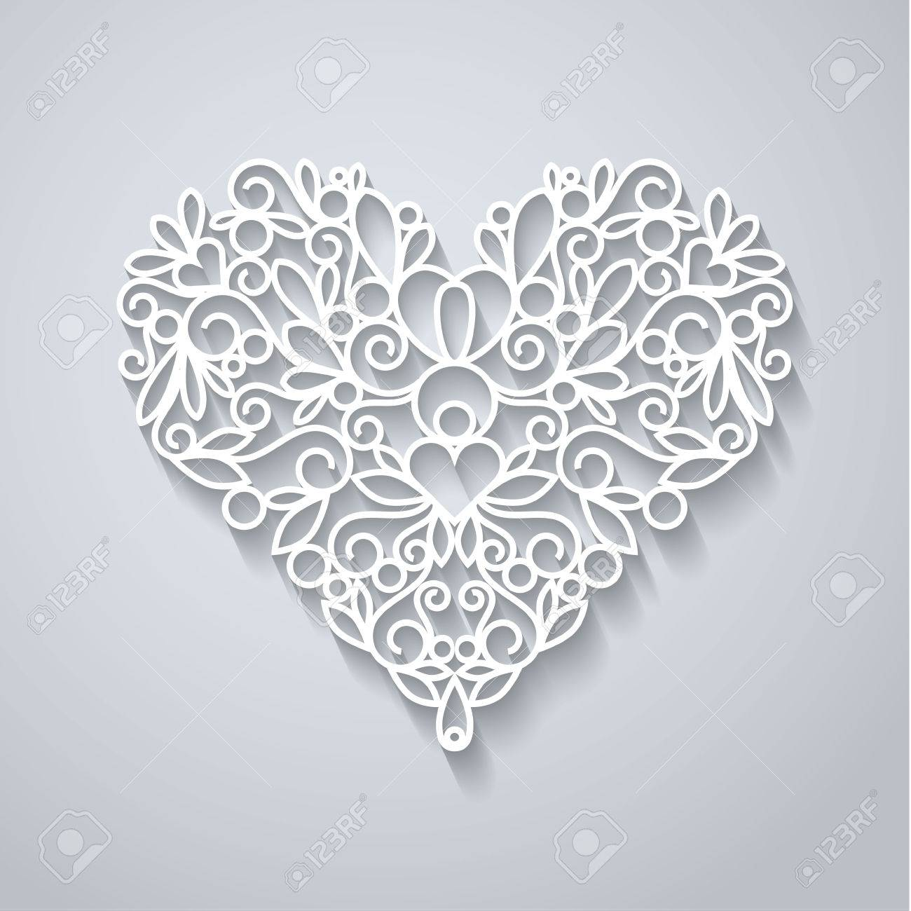 Swirly paper heart with shadow on white, vector illustration - 36860204