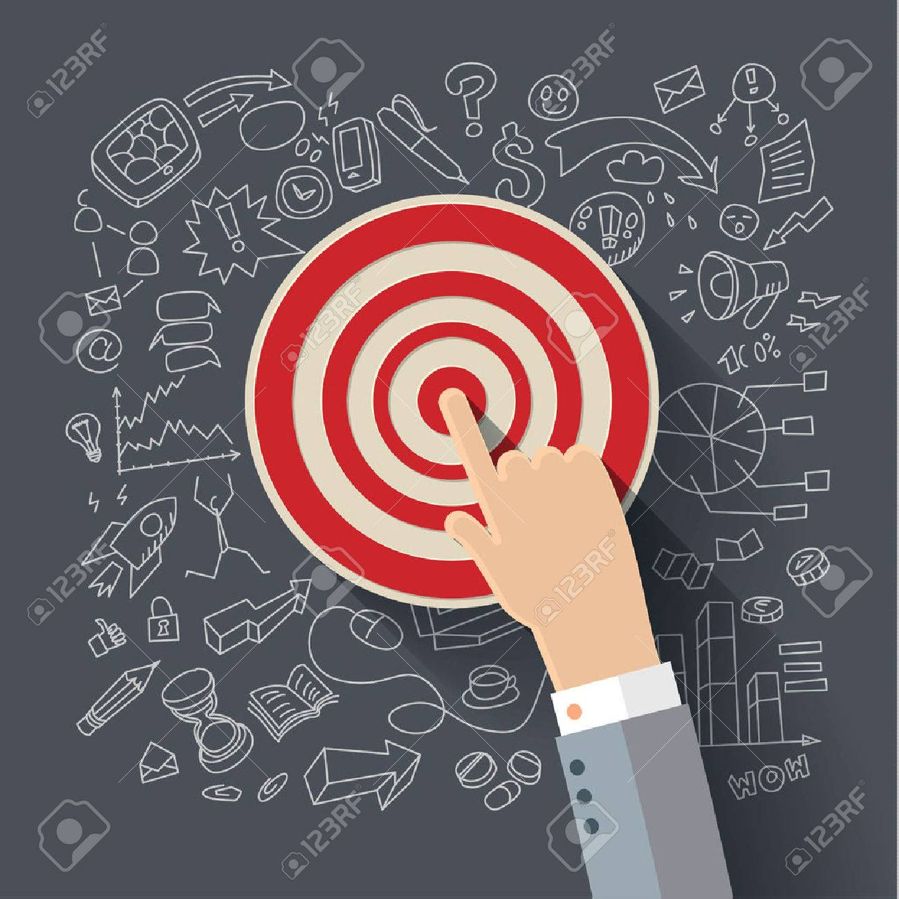 Finger to the target. Concept of success. Vector flat illustration. - 38789776