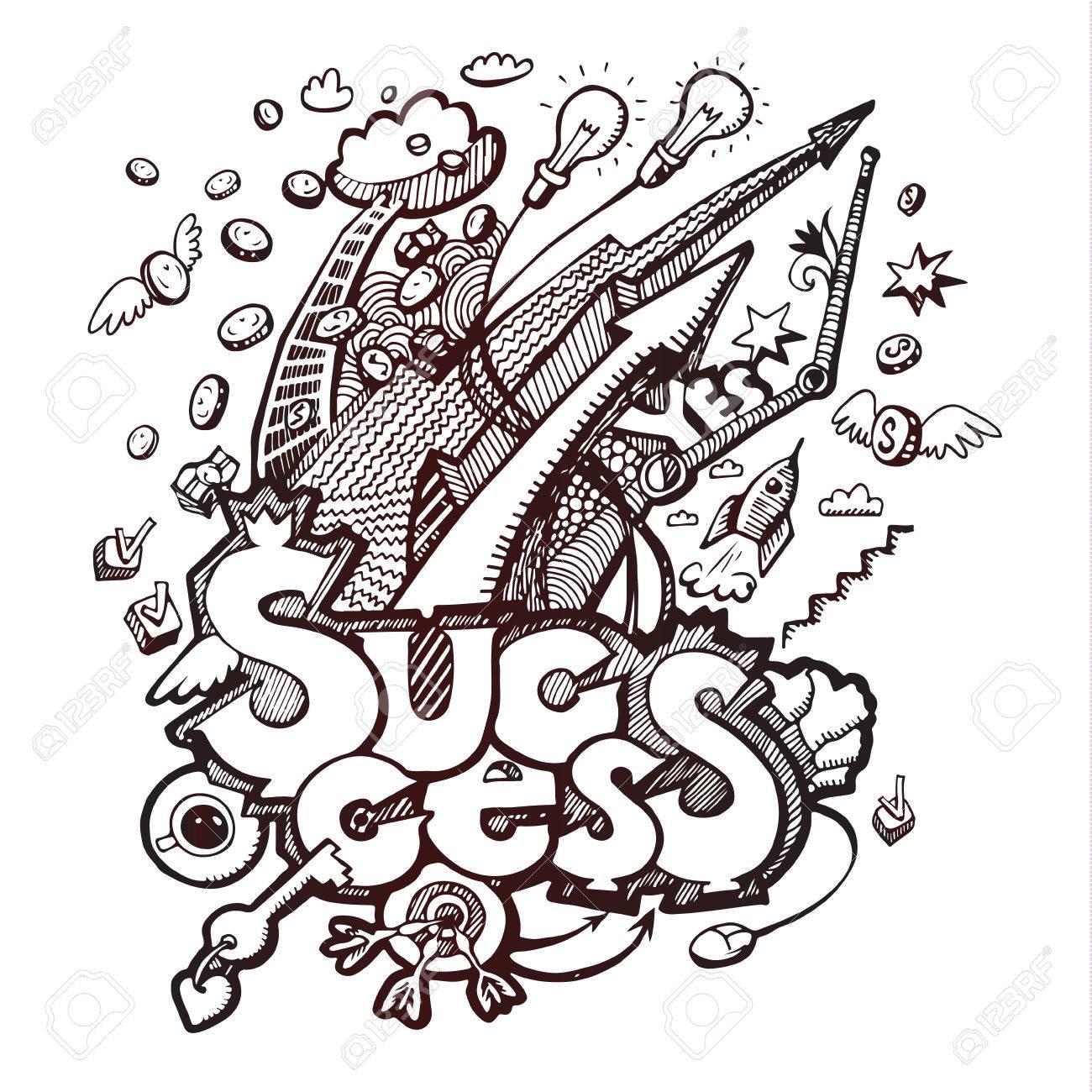 Business doodles. Concept of success. Vector illustration - 40176576