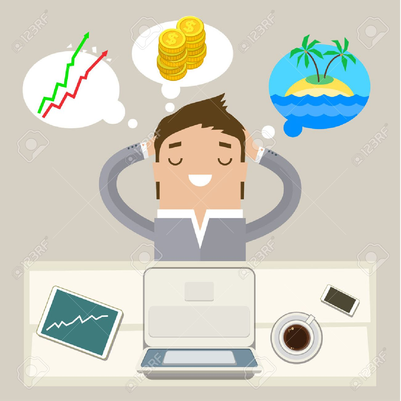 Business man dreaming on a cloud. Concept of big dreams - 44463180