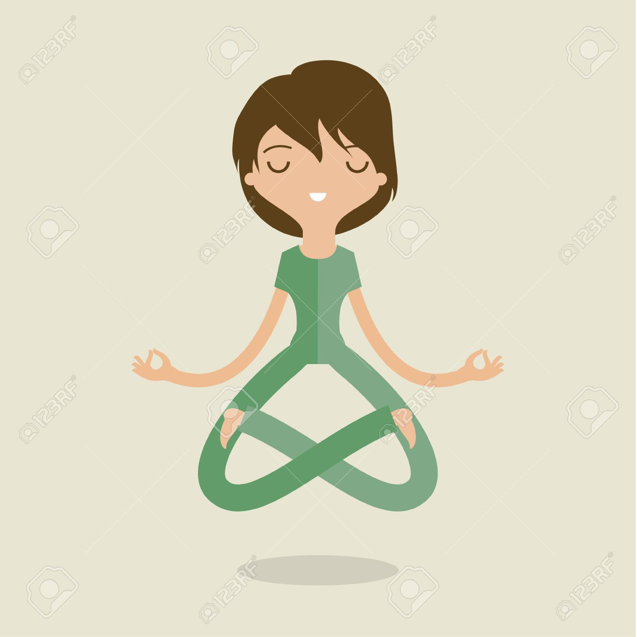 Cartoon woman is doing yoga and meditation. Concept of peace in mind. Flat design - 44867277