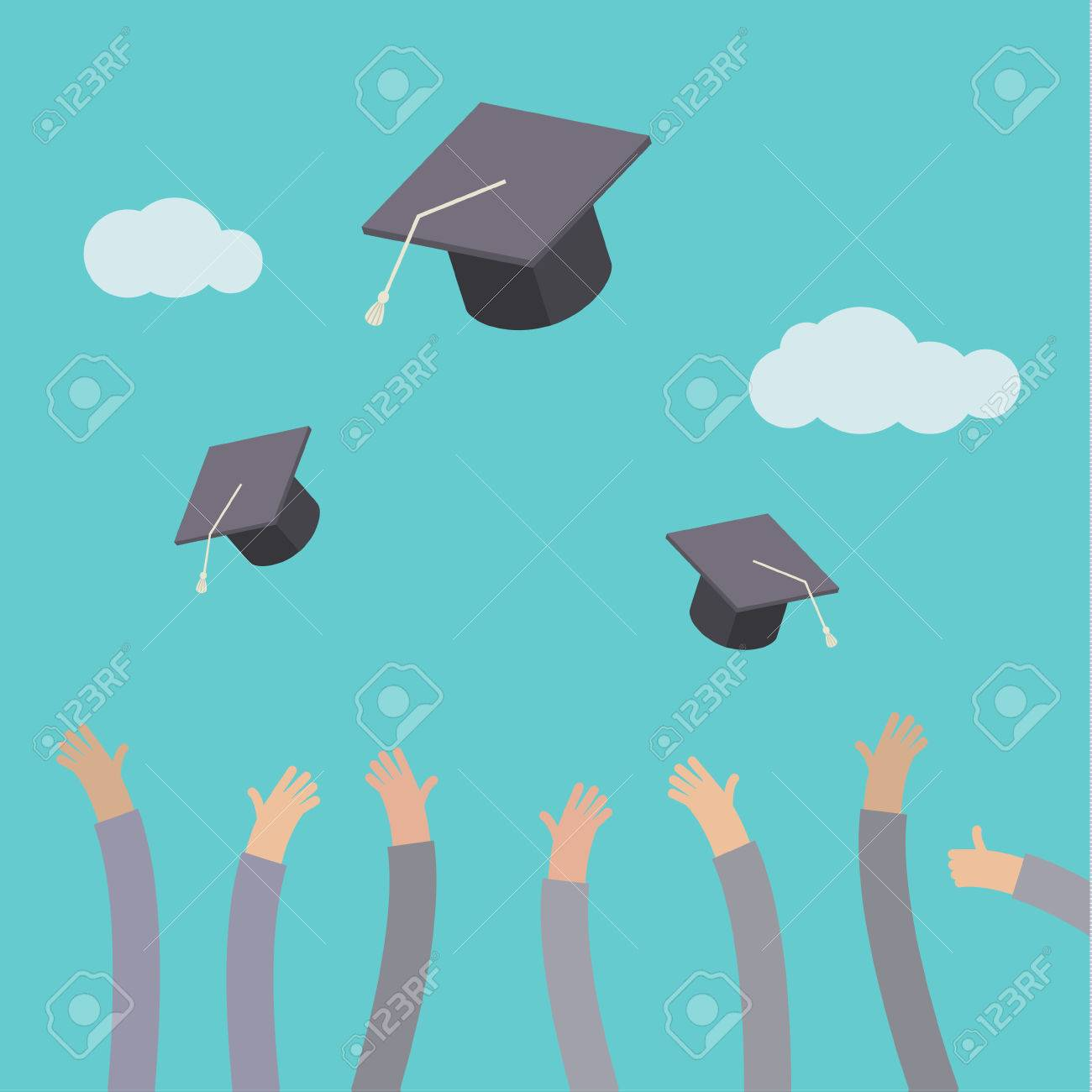 Concept of education. Graduates throwing graduation hats in the air. - 45723670