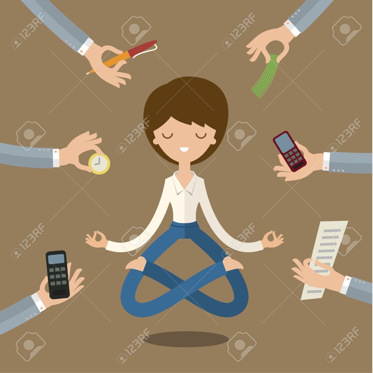 Businesswoman doing Yoga to calm down the stressful emotion from multi-tasking and very busy working. - 47619318