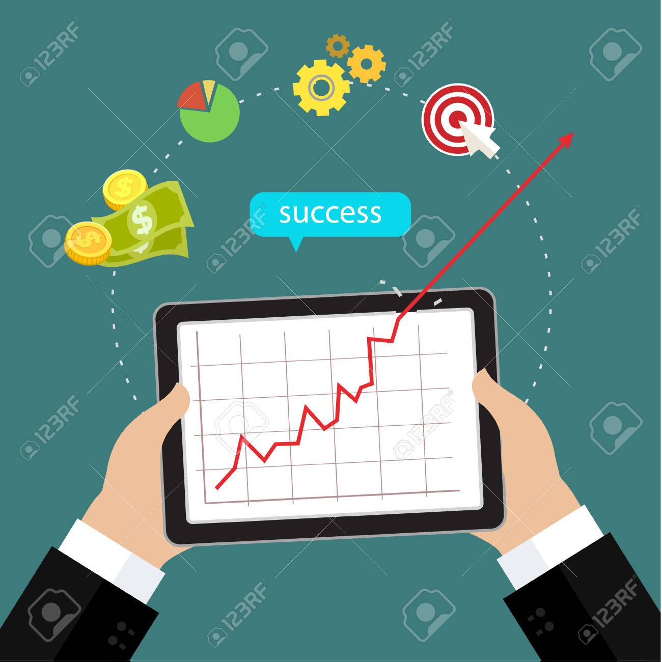 Business concept of success, red arrow shows growth chart. Flat design - 48555286