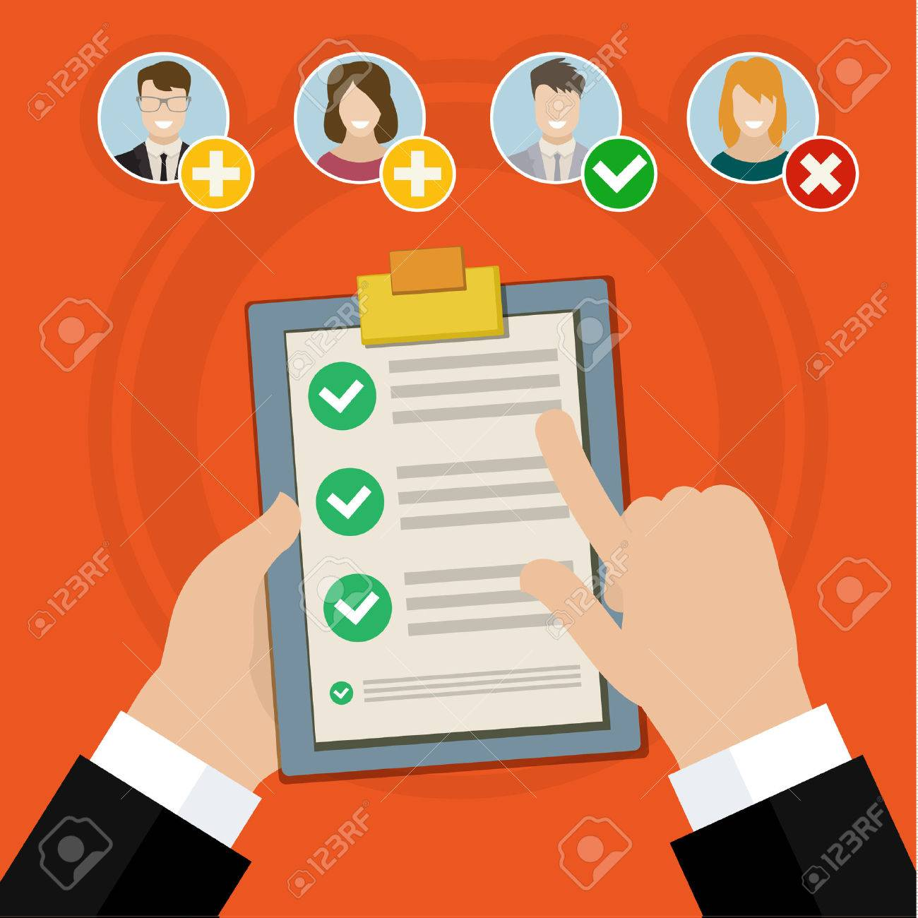 Flat design vector business illustration concept Candidate qualification job interview and check list. - 48679523