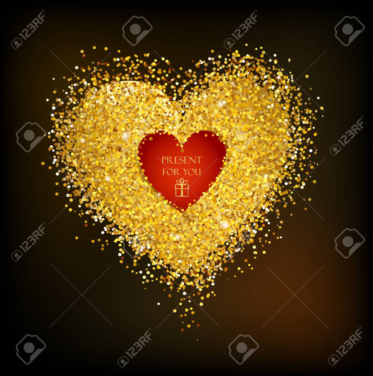 Golden frame in the shape of a heart made of golden confetti on black background. - 49780699