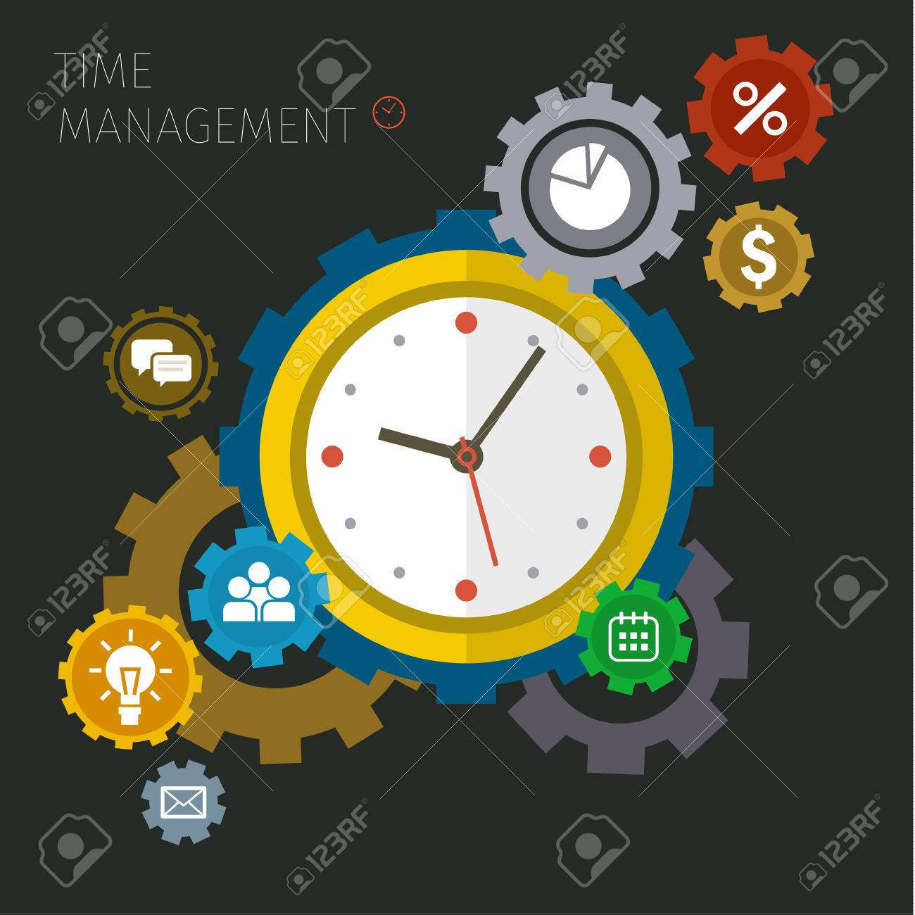 Flat design vector business illustration. Concept of effective time management. - 50857485