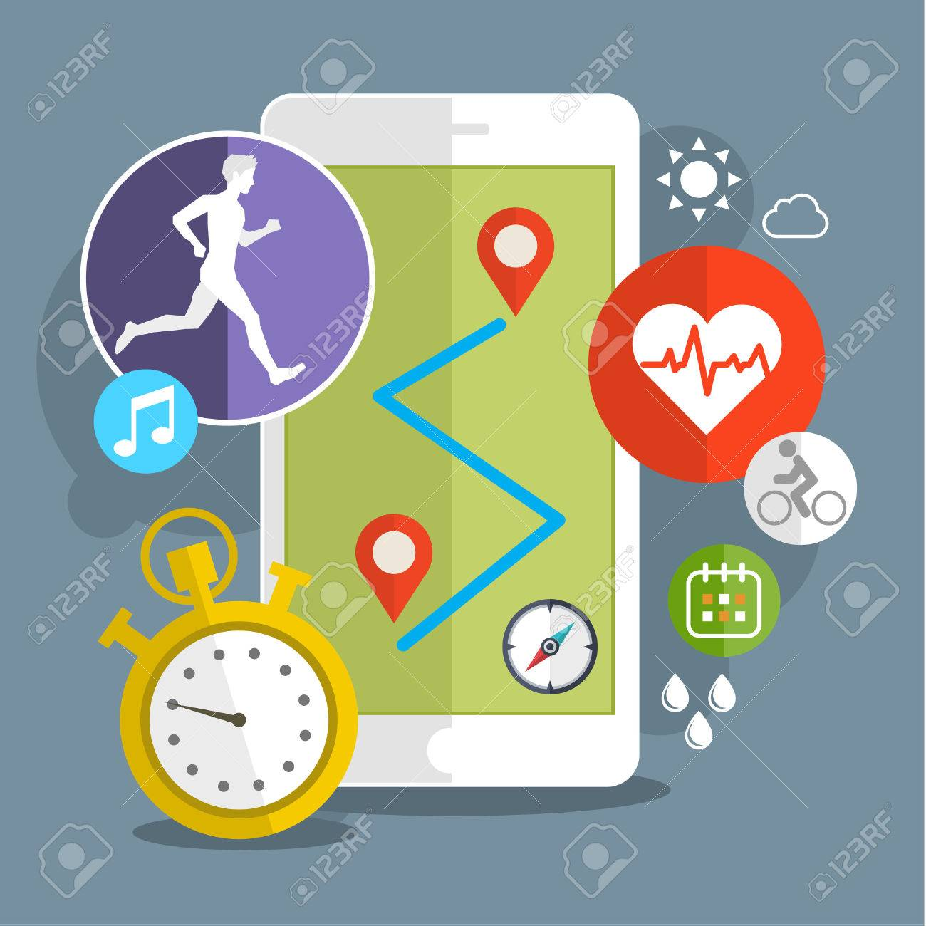 Smart phone with sport icons. Fitness app concept on touchscreen. Flat design vector illustration - 50857503