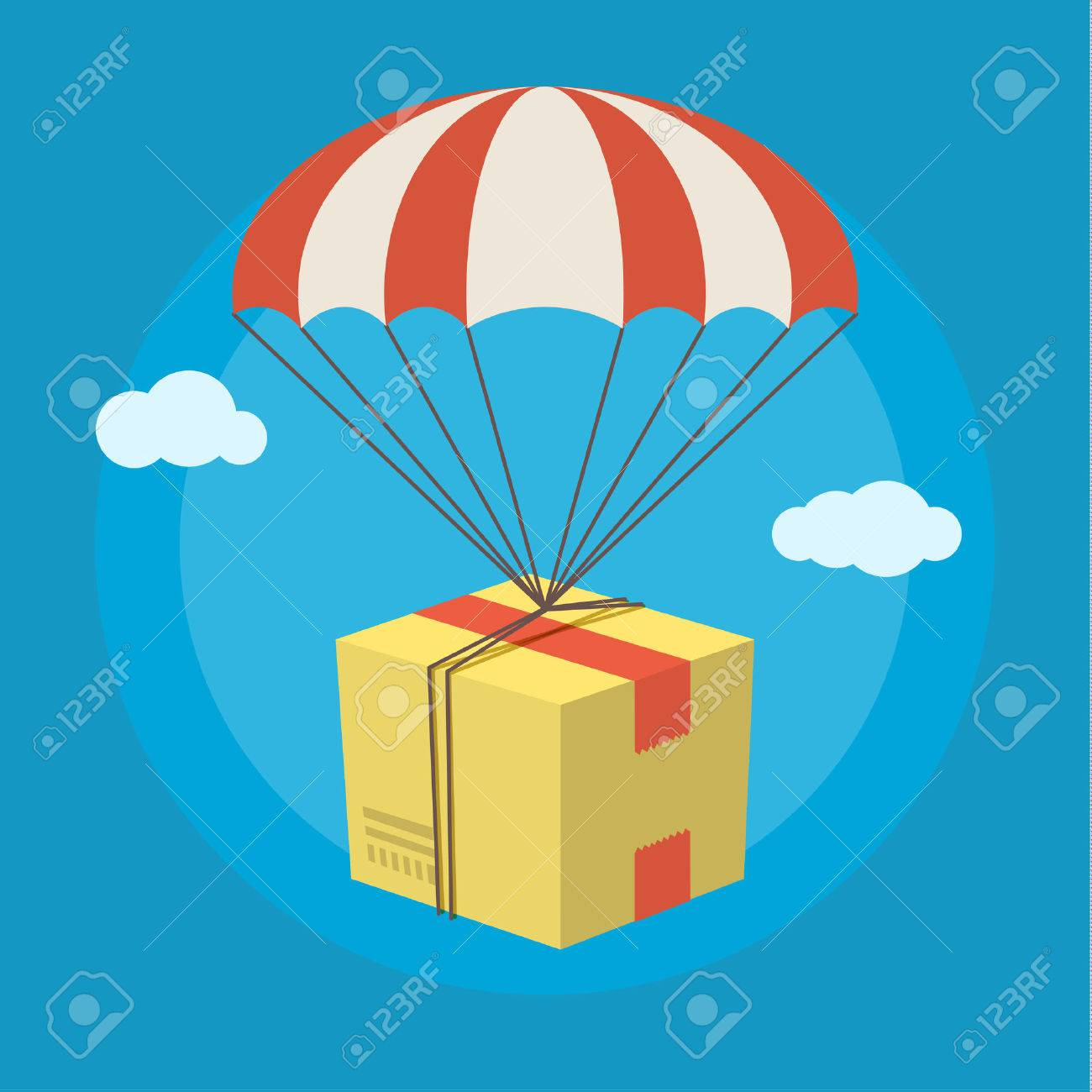 Concept for delivery service. Package flying down from sky with parachute. Flat design colored vector illustration. - 50915190