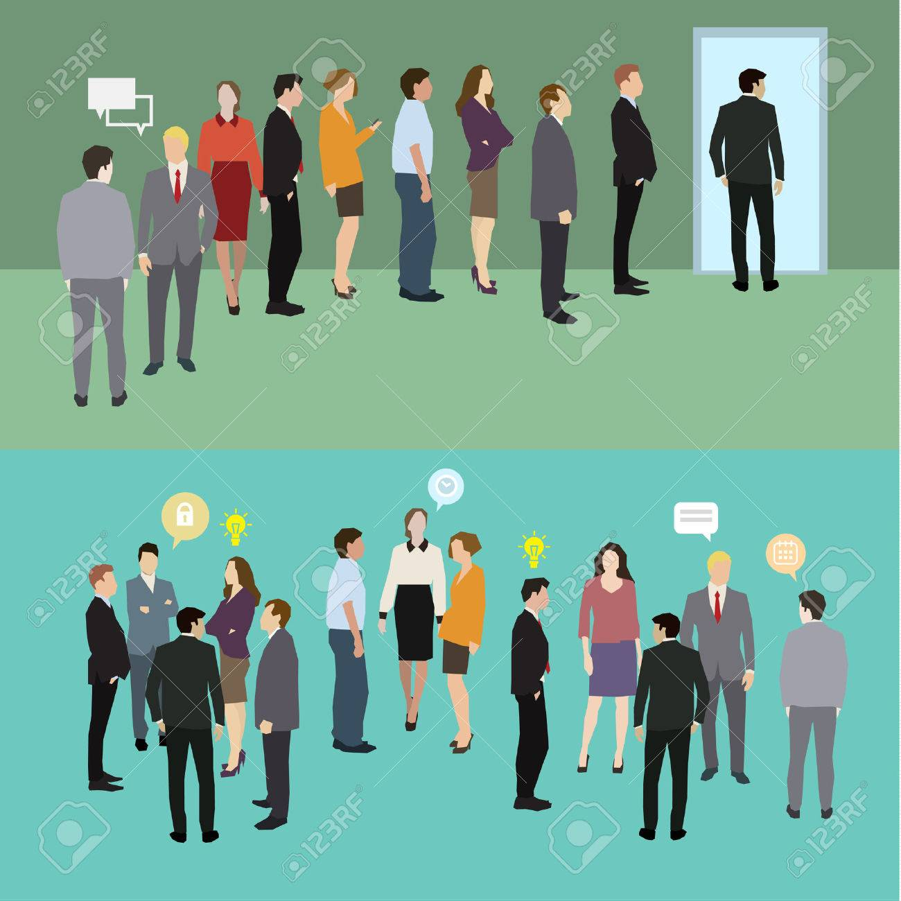 Business people standing in a line. Flat design, vector illustration - 51445208