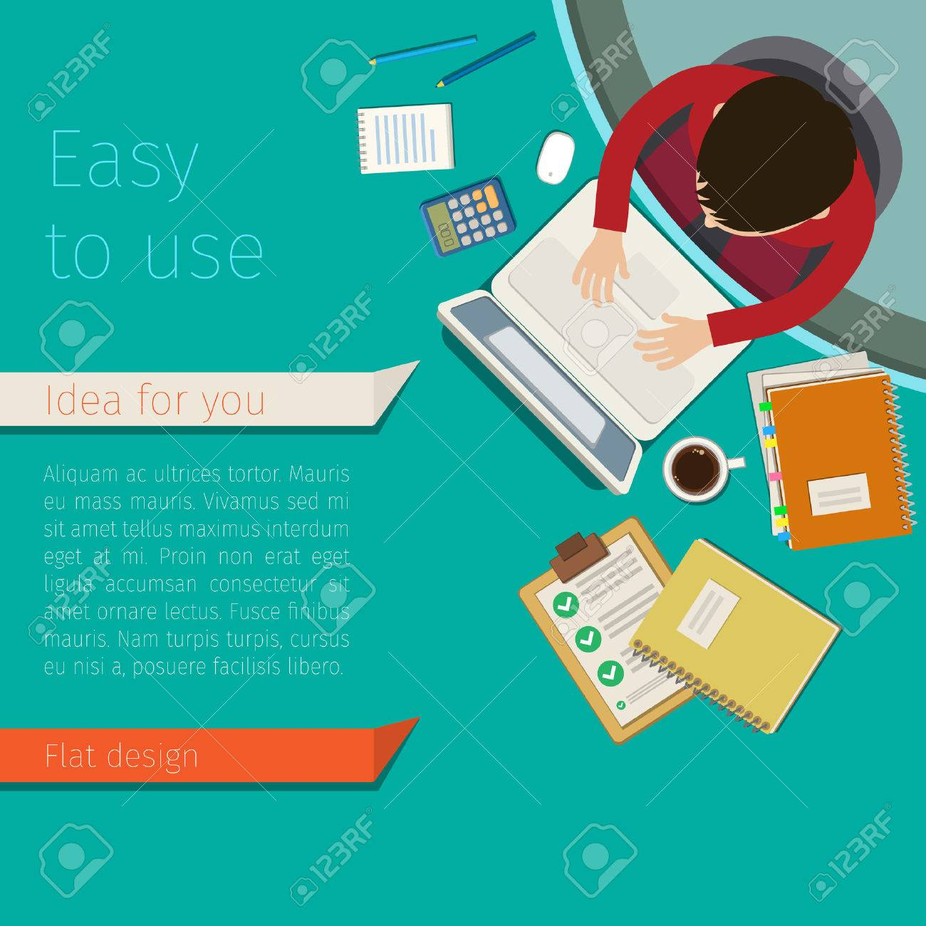 Concept of work place. A man working at light green desk. Flat design, vector illustration - 51792544