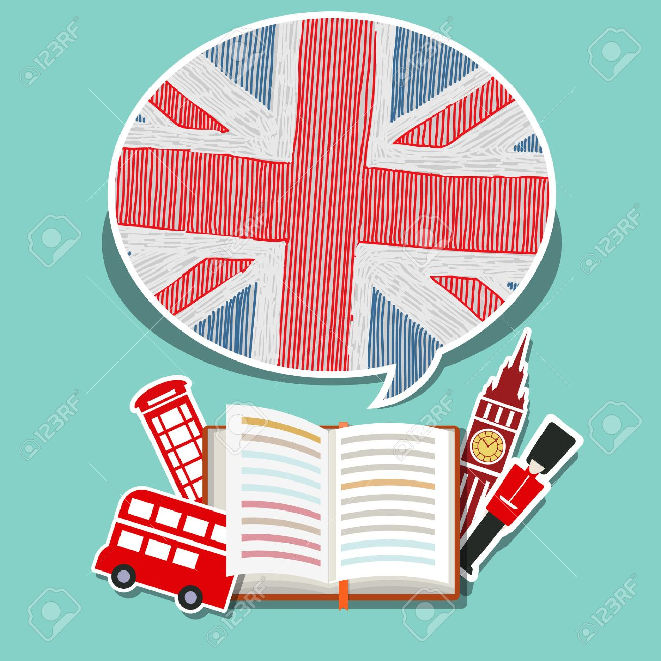 Concept of travel or studying English. Open book with English symbols. Flat design, vector illustration - 51792626