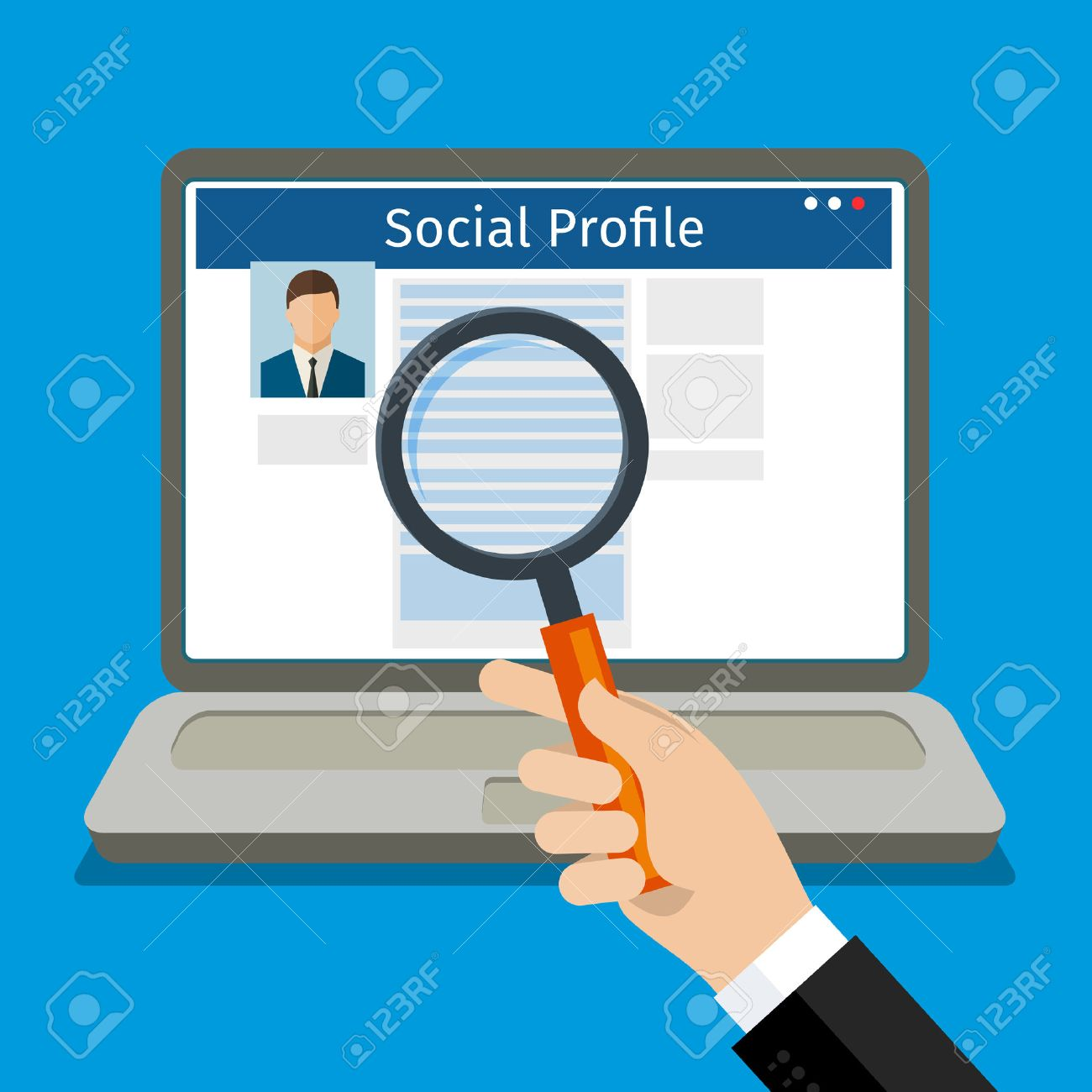 Search Social Profile. Laptop with social network. Flat design, vector illustration. - 53290734