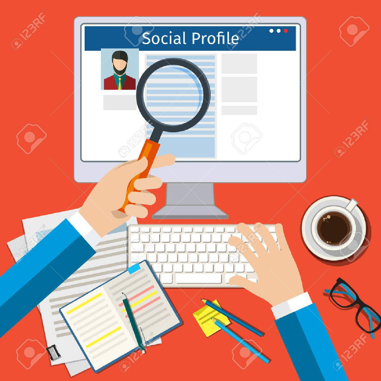 Search Social Profile. Screen with social network. Flat design, vector illustration. - 53290760