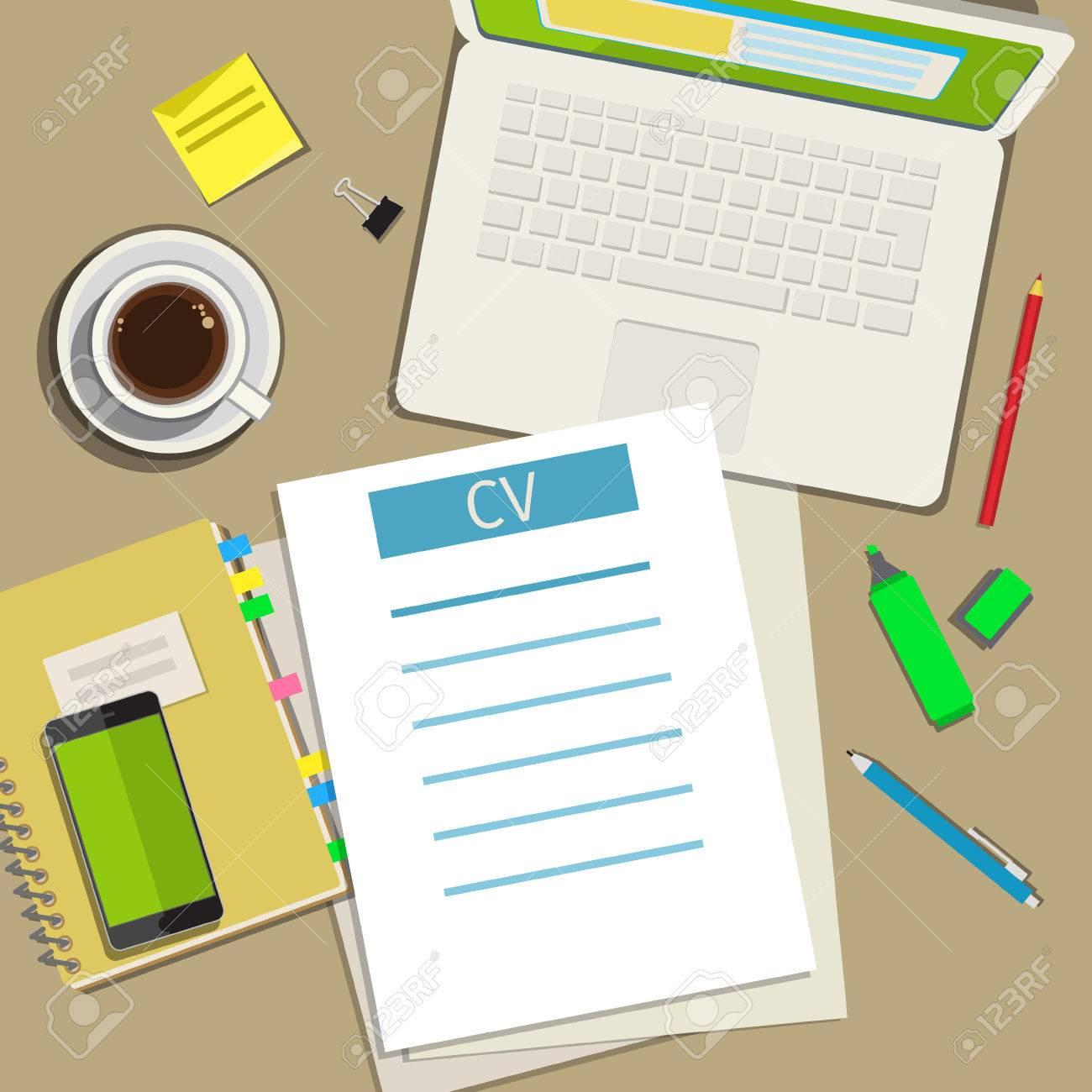 Escribir Un Curriculum Vitae Cv Concepto De Negocio. Diseño Plano ...