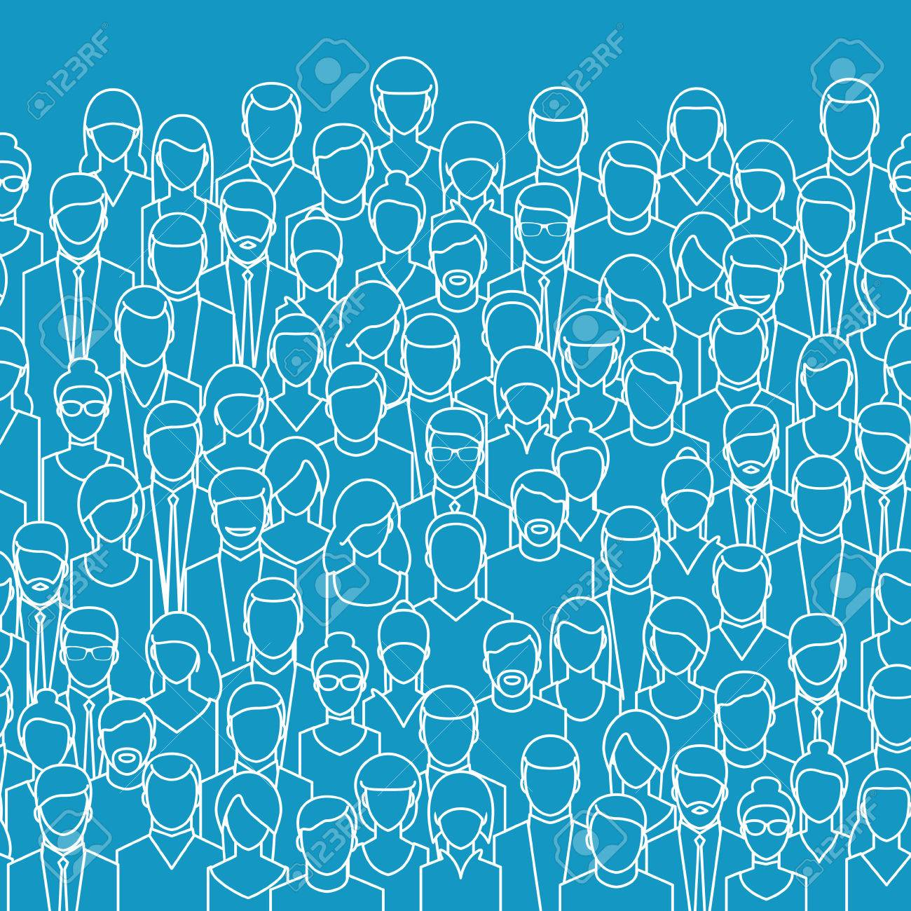 The crowd of abstract people, line style. Flat design, vector illustration. - 53982887
