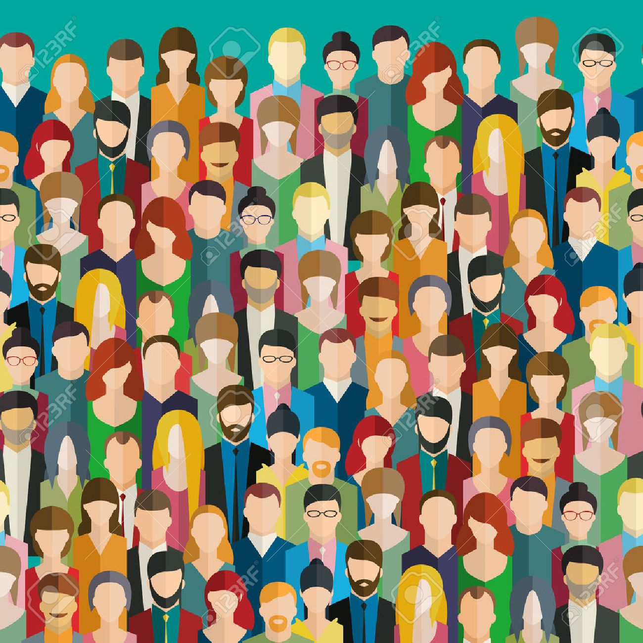 The crowd of abstract people. Flat design, vector illustration. - 53982937
