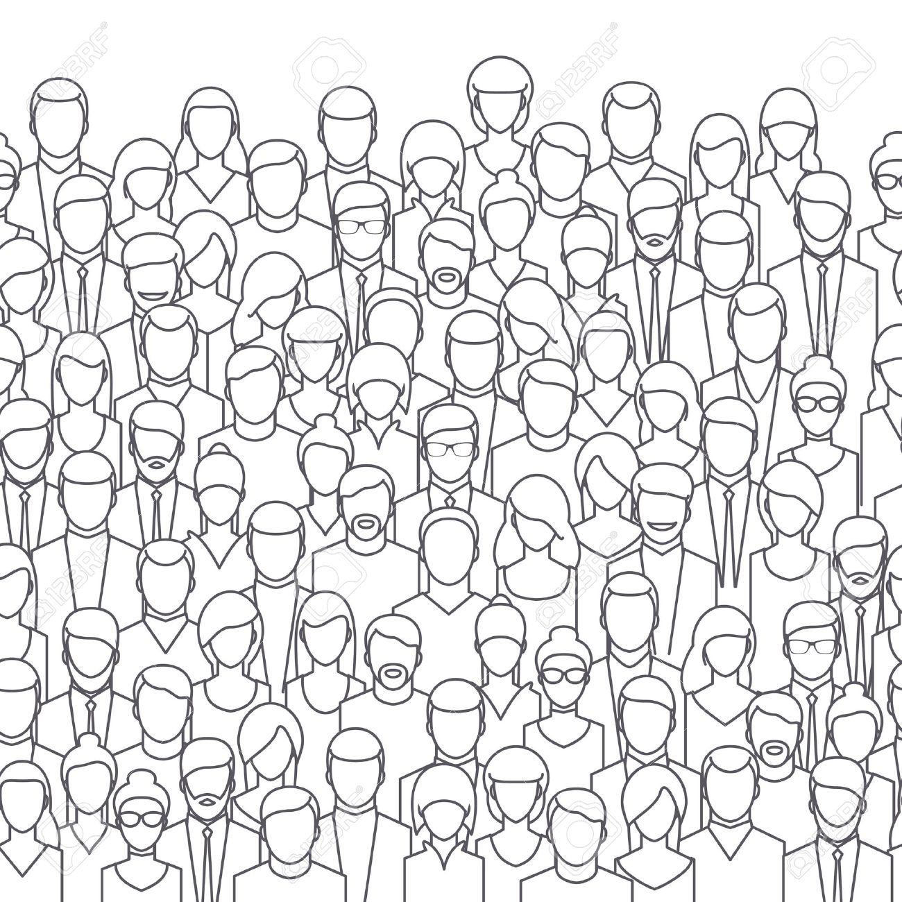 The crowd of abstract people, line style. Flat design, vector illustration. - 55308784