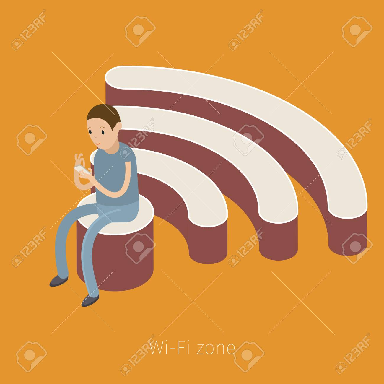 Concept Of Wifi Zone Man Sitting On The Symbol Of Wifi Flat