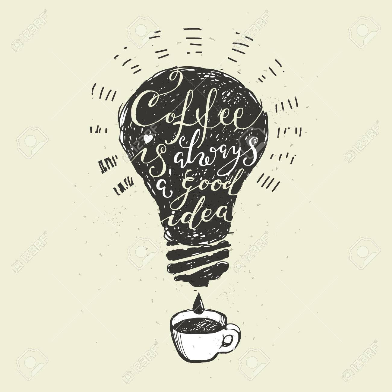 Citaten Koffie English : Coffee quotes. coffee is always a good idea lettering. hand drawn