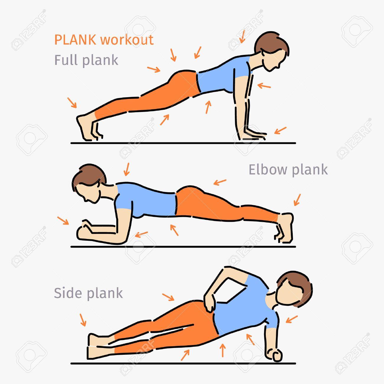 Plank Seance D Entrainement Femme Faisant Corps Parfait Avec L Exercice De La Planche Clip Art Libres De Droits Vecteurs Et Illustration Image 58021039