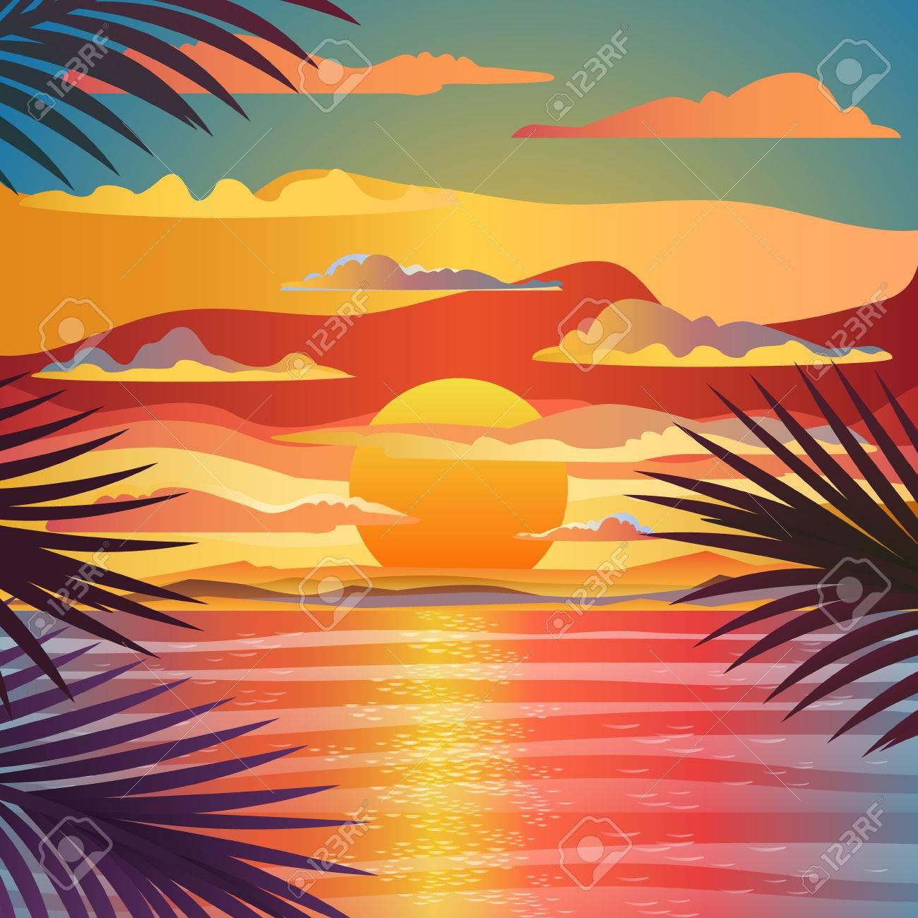 Beautiful Beach Sunset Landscape Flat Design Vector Illustration Stock