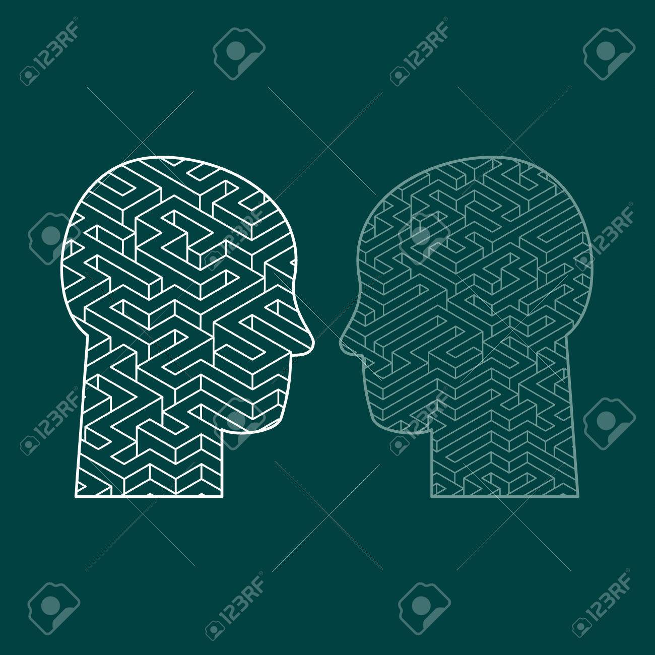 Human intelligence puzzle with a maze in the shape of a human head as a symbol of the complexity of brain thinking as a challenging problem to solve by medical doctors. Flat design vector illustration - 58203895