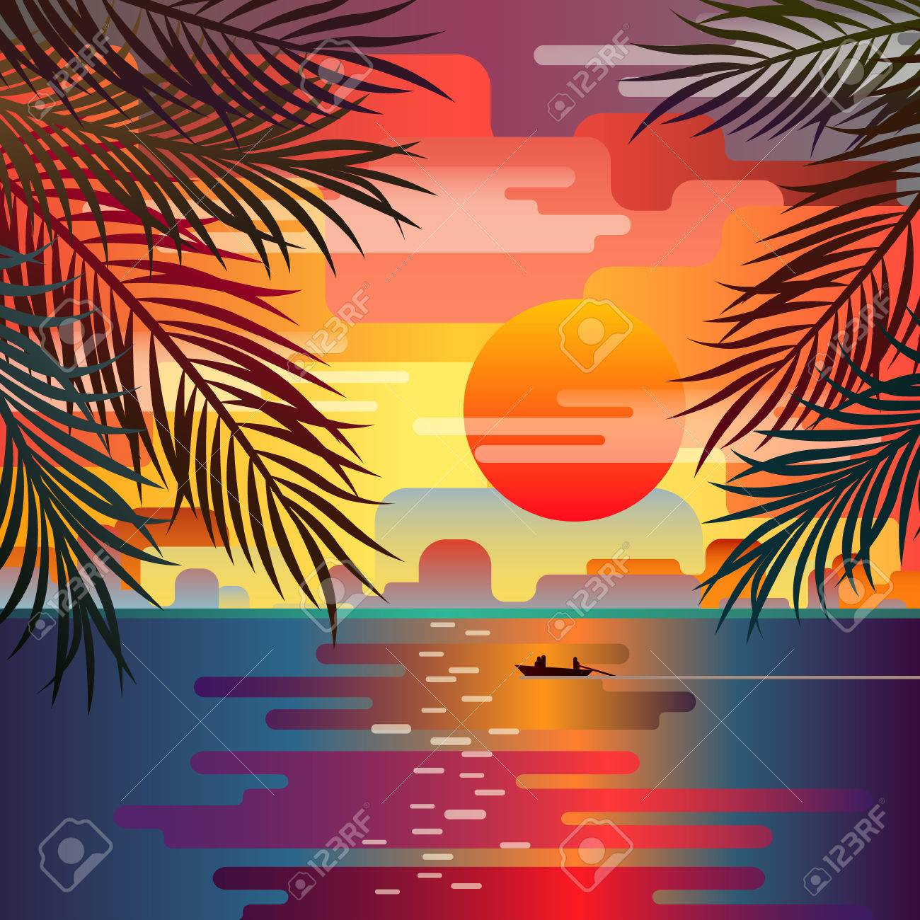 Beautiful Beach Sunset Landscape With Palm Leaves Over The Sea Romantic