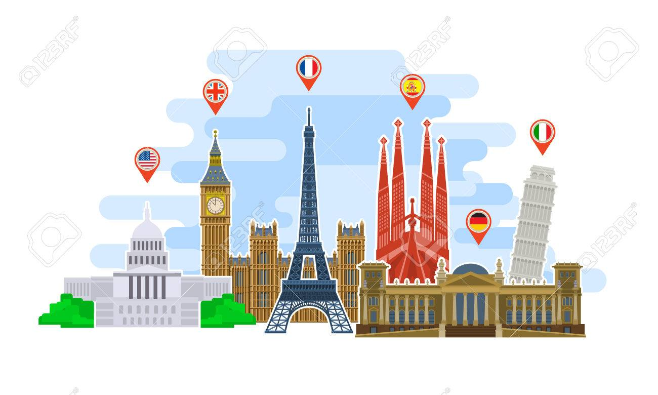 Concept of travel or studying languages. Landmarks in flat style. Time to travel in the world. Flat design, vector illustration. - 58205264