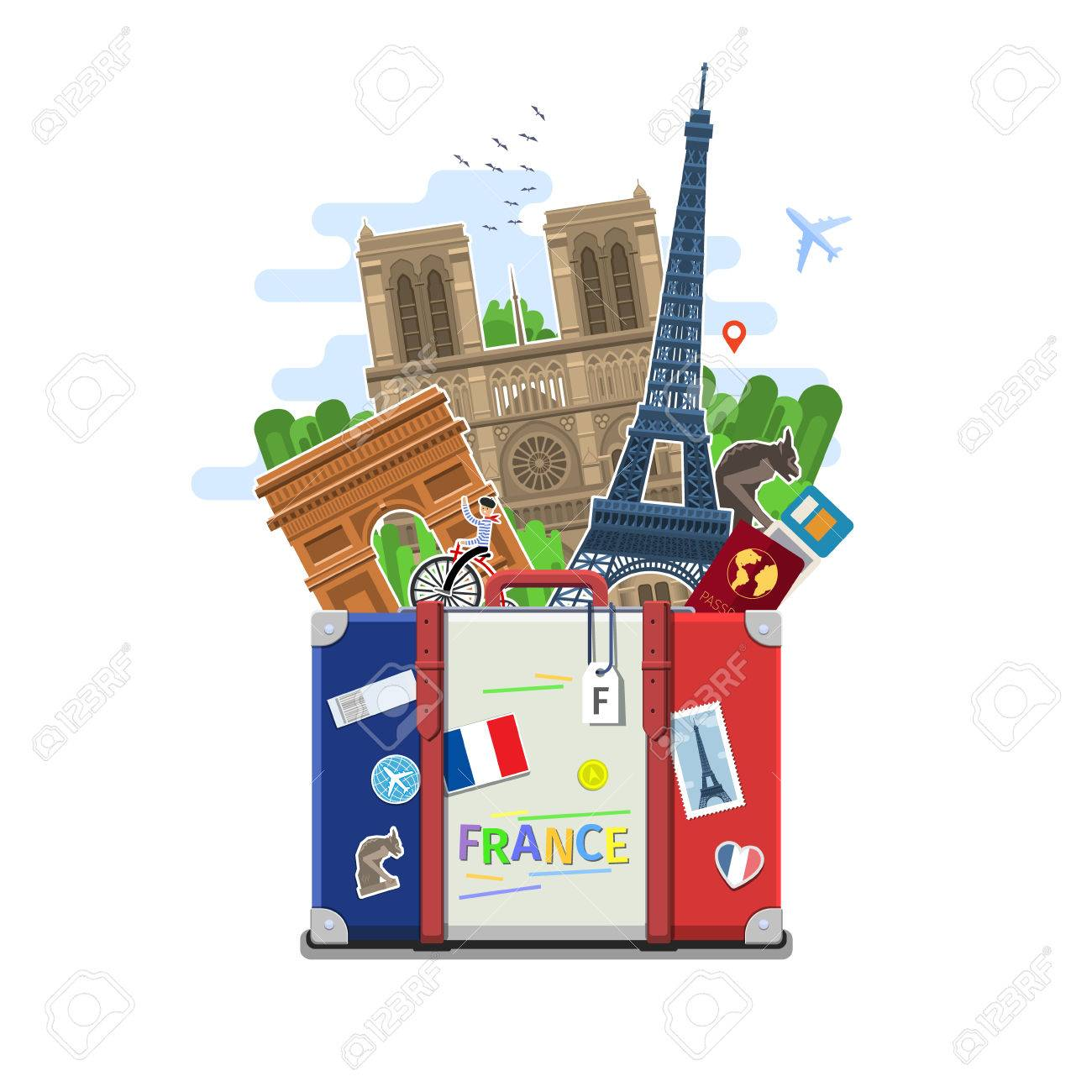 Concept Of Travel To France Or Studying French Flag With Landmarks In Suitcase