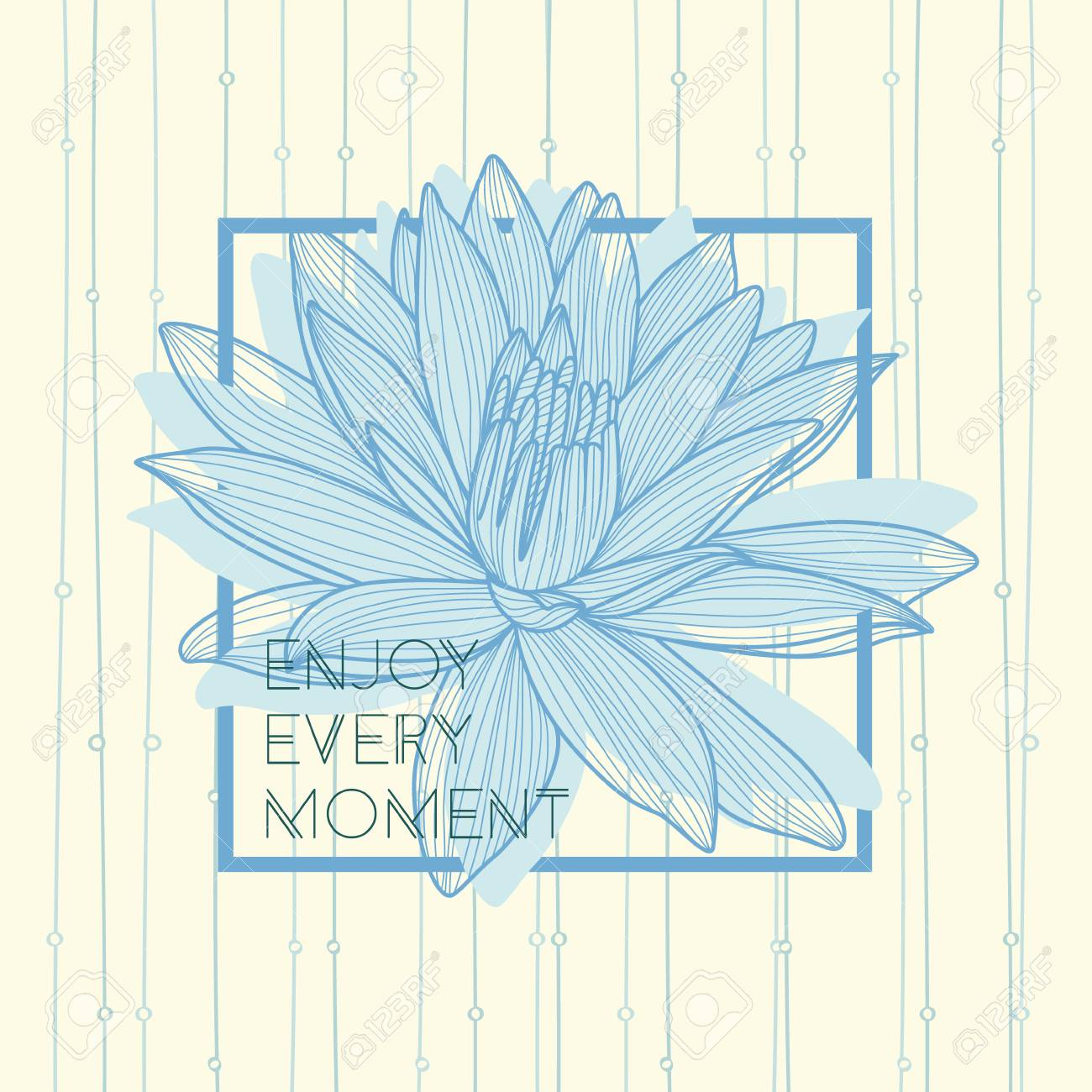 Enjoy Every Moment Quote Hand Drawn Lotus Flower Royalty Free