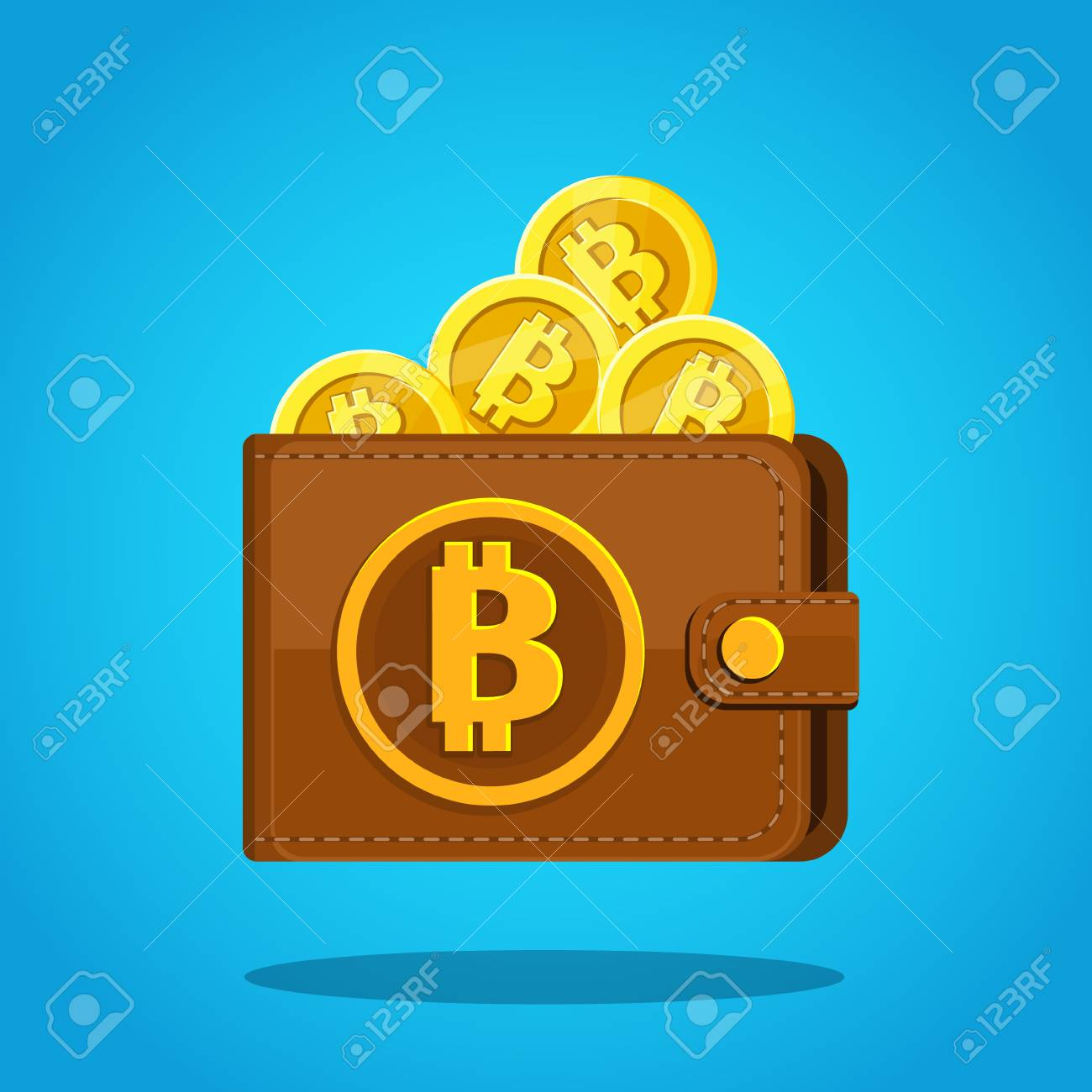 Concept of crypto currency brown bitcoin wallet with coins on brown bitcoin wallet with coins on blue background flat design ccuart Choice Image
