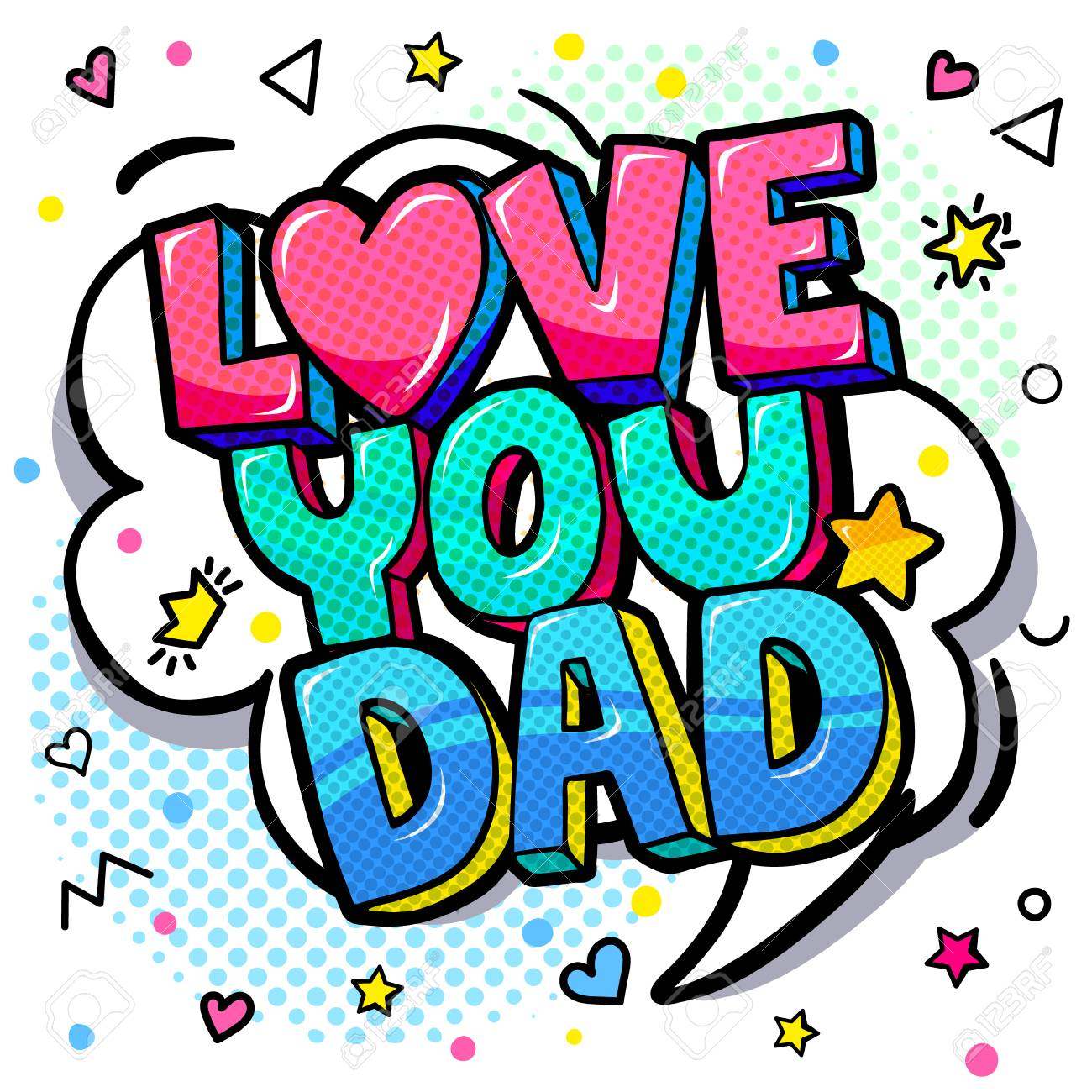 Love you dad message in sound speech bubble  Happy Father's Day