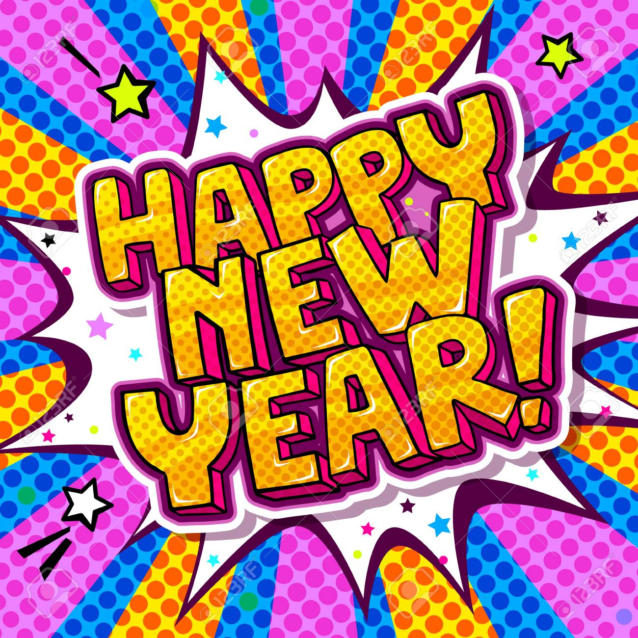 Happy New Year Message In Pop Art Style. Lizenzfrei Nutzbare ...