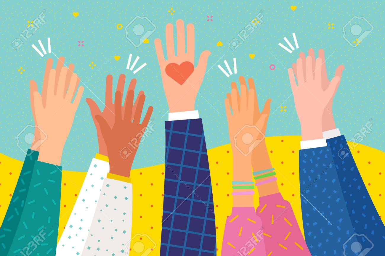 Concept of charity. People applaud. Human hands clapping ovation. Hand holding a heart. Flat design, business concept, vector illustration - 115832460