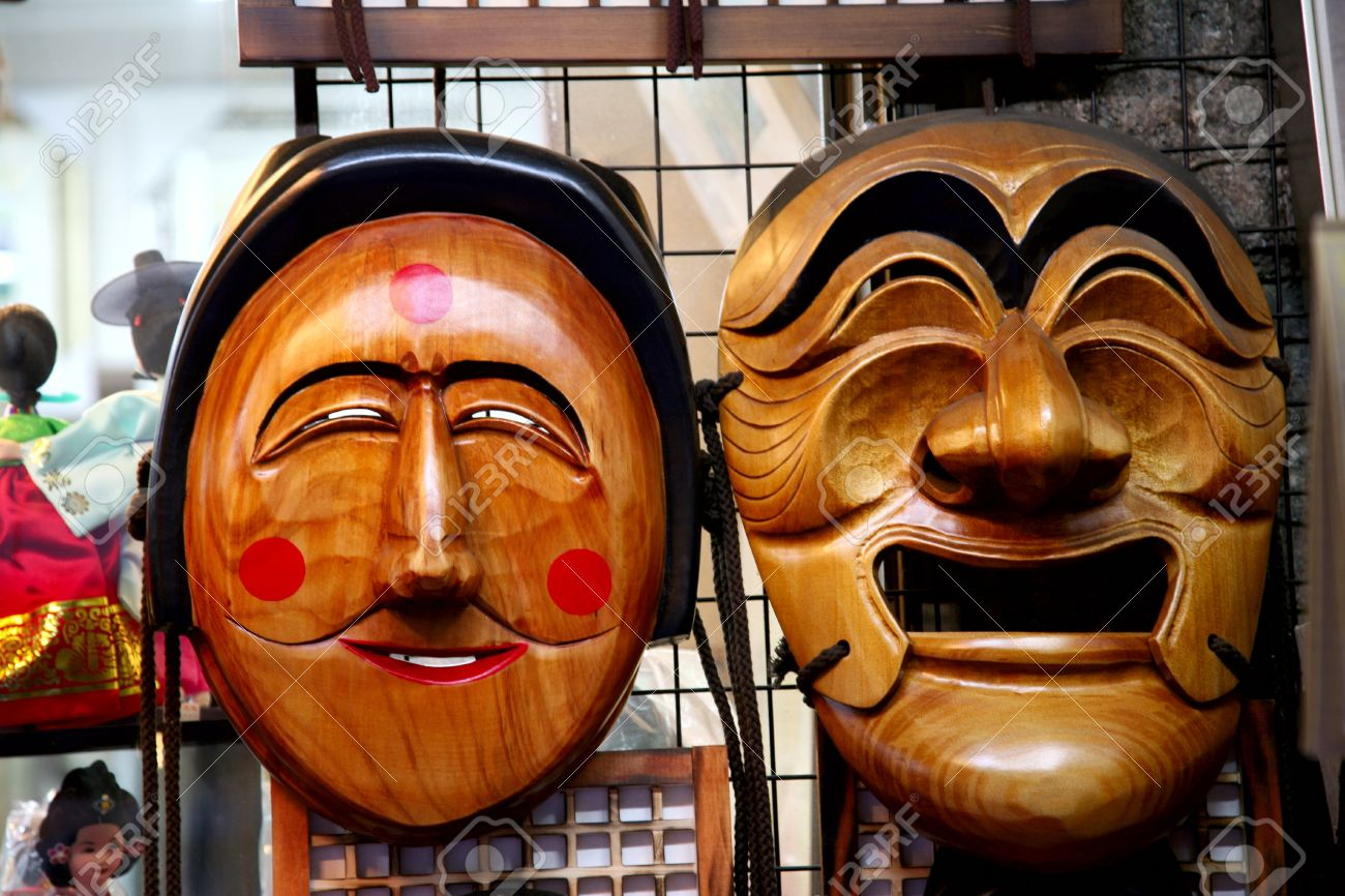Seoul, South Korea - April 23, 2011: Wooden Hahoe Mask, Hahoetal in Korean, in Insadong. Hahoe masks are labelled South Korean national treasure.  Stock Photo - 9916335