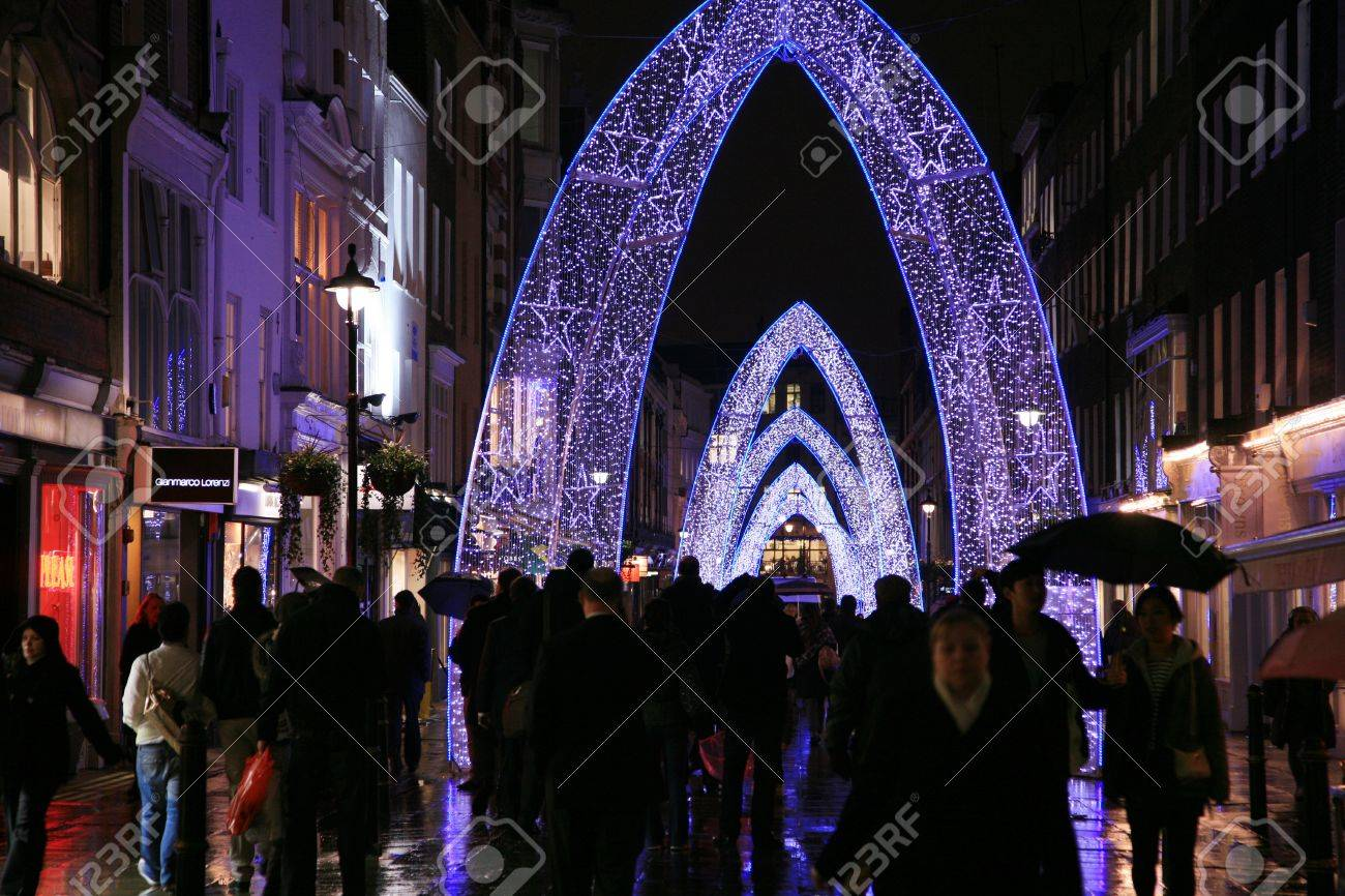 London, UK - November 21, 2010: Street Night View of Oxford Street with Christmas Decoration. Oxford Street is one of the most famous shopping street in London and also famous for it's beautiful Christmas Decoration.   Stock Photo - 10591807