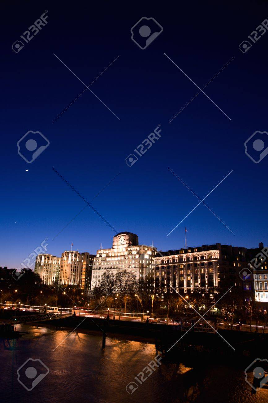 London Victoria Embankment Night View seen from Waterloo Bridge - Embankment Place, Adelphi Terrace and Shell Mex House from Left Stock Photo - 10644107