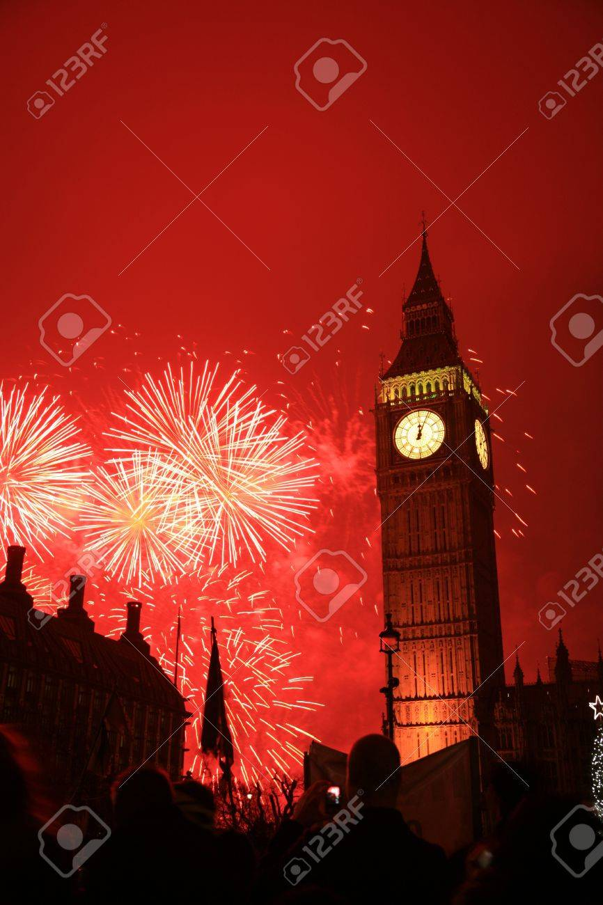 2011, Fireworks over Big Ben at midnight Stock Photo - 10912500