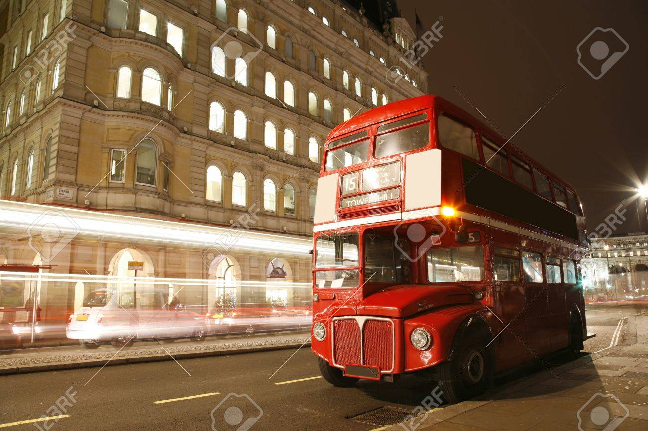 Route Master Bus in the street of London. Route Master Bus is the most iconic symbol of London as well as London's Black cabs.      Stock Photo - 11691976