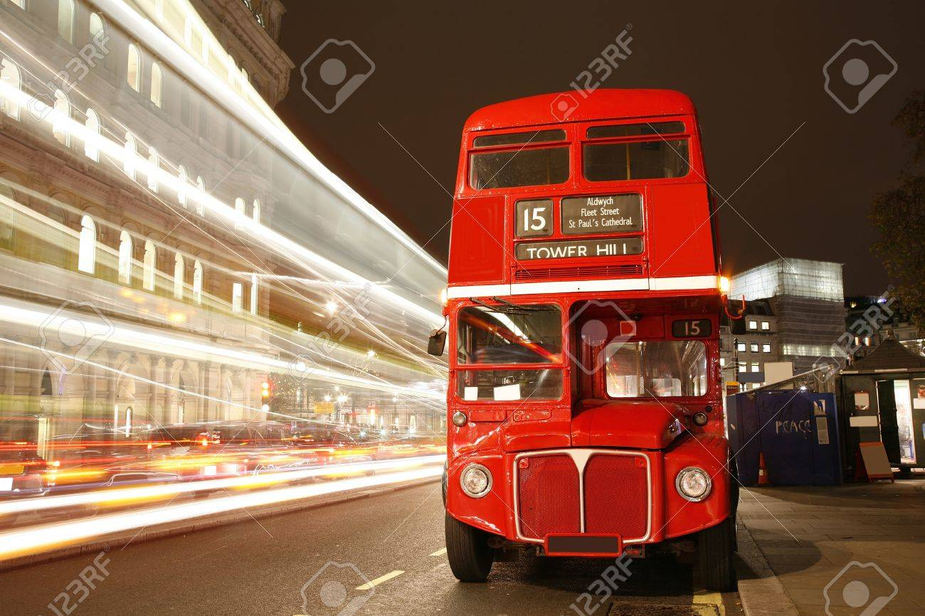 Route Master Bus in the street of London. Route Master Bus is the most iconic symbol of London as well as London's Black cabs.      Stock Photo - 11692003