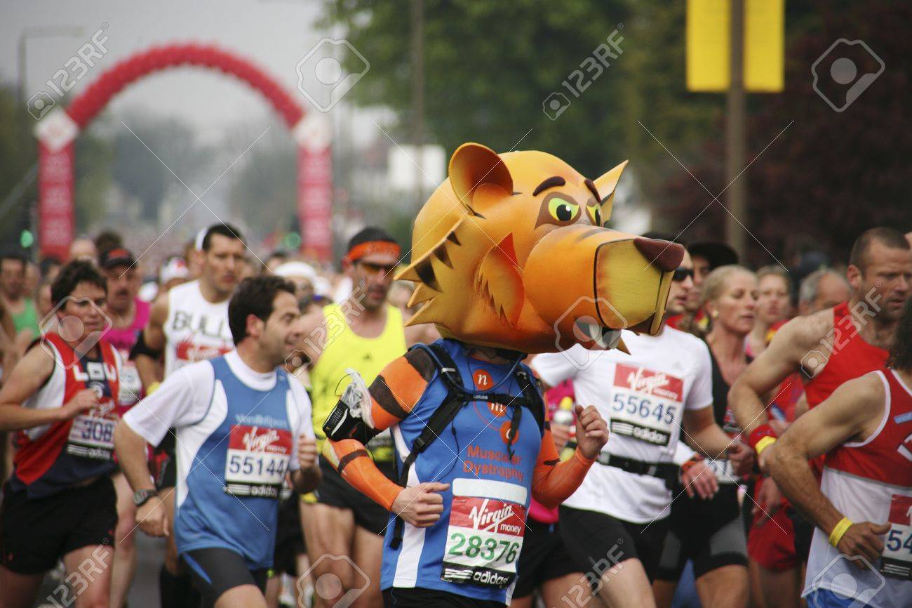London, UK - April 25, 2010: Participant in the London Marathon wearing funny costume. The London Marathon is next to New York, Berlin, Chicago and Boston to the World Marathon Majors, the Champions League in the marathon.   Stock Photo - 11581333